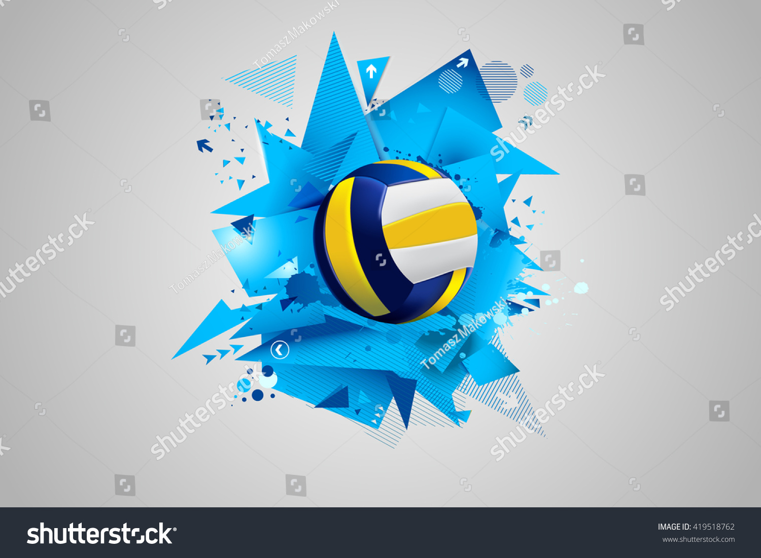 Stock Illustration Volleyball Tribal Abstract Vector: Volleyball Abstract Immagine Vettoriale Stock 419518762