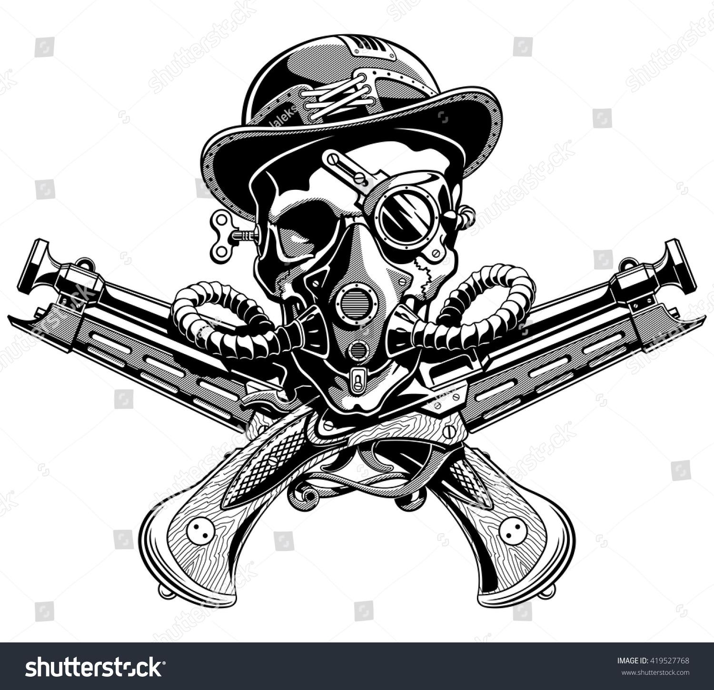 Pirate skull and guns - photo#24