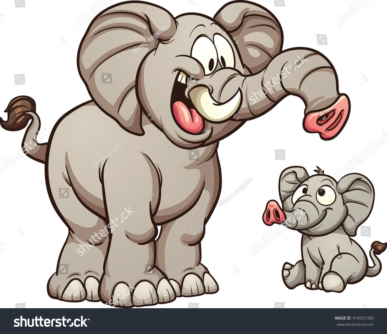 big small cartoon elephants vector clip stock vector 419531956