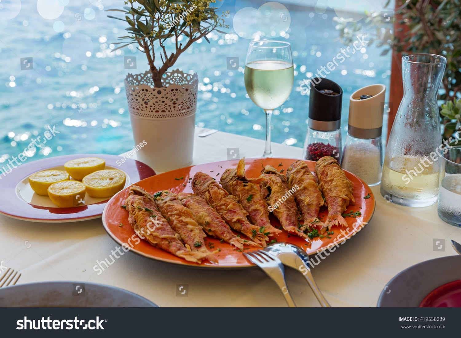 Fried red mullet fish on plate stock photo 419538289 for Red fish catering