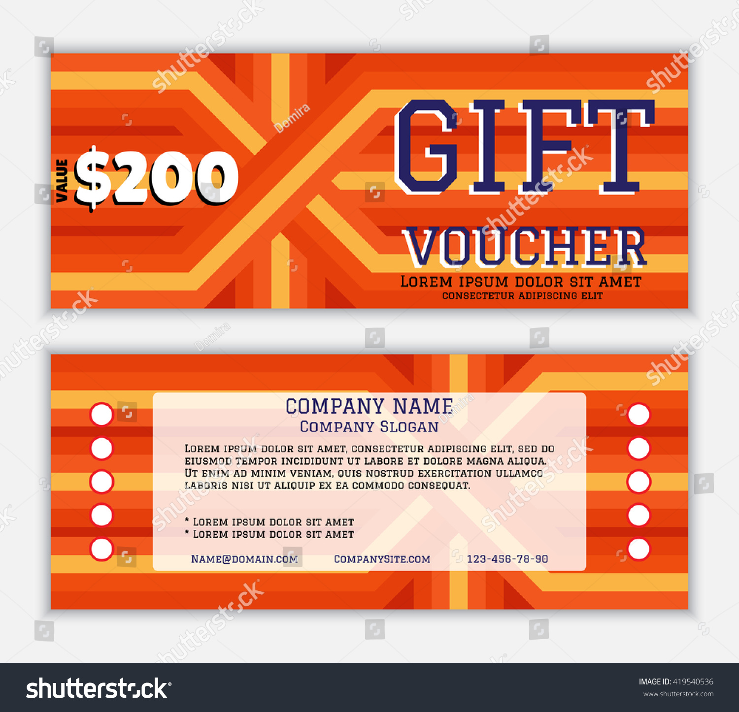 Gift voucher template against direct slant stock vector for Direct flame