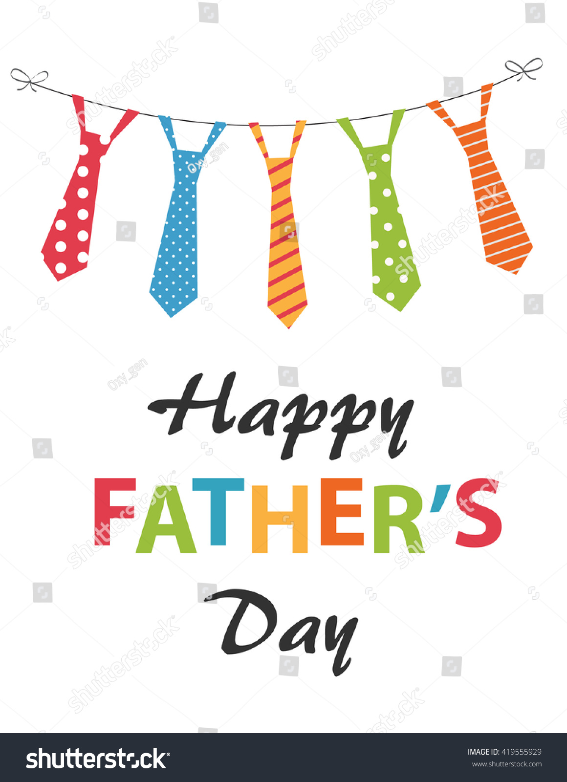 Happy Fathers Day Festive Card Hanging Lager-vektor ...