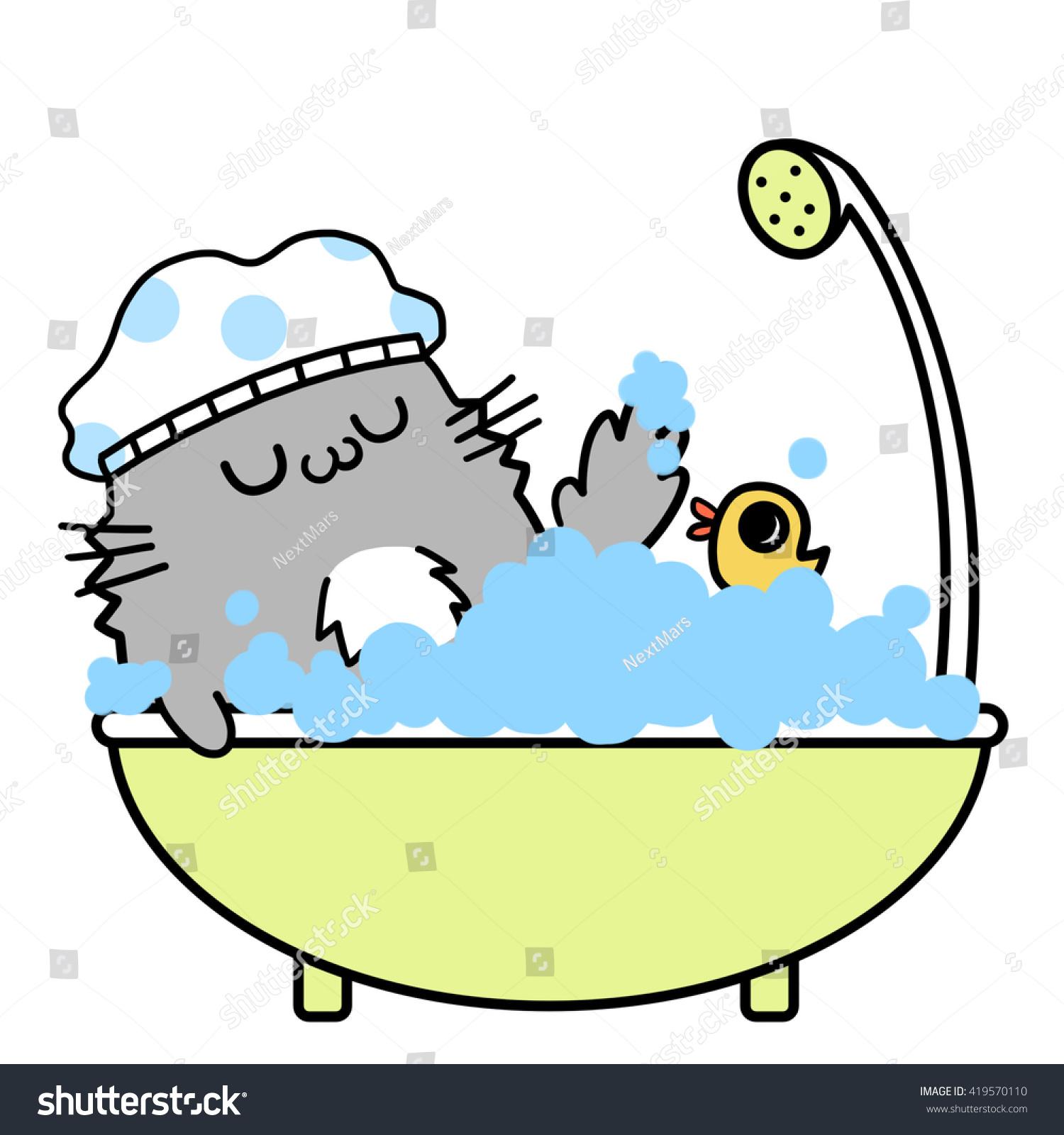 Bath Creative Cats Memories Take Happy Bath Creative Stock Illustration