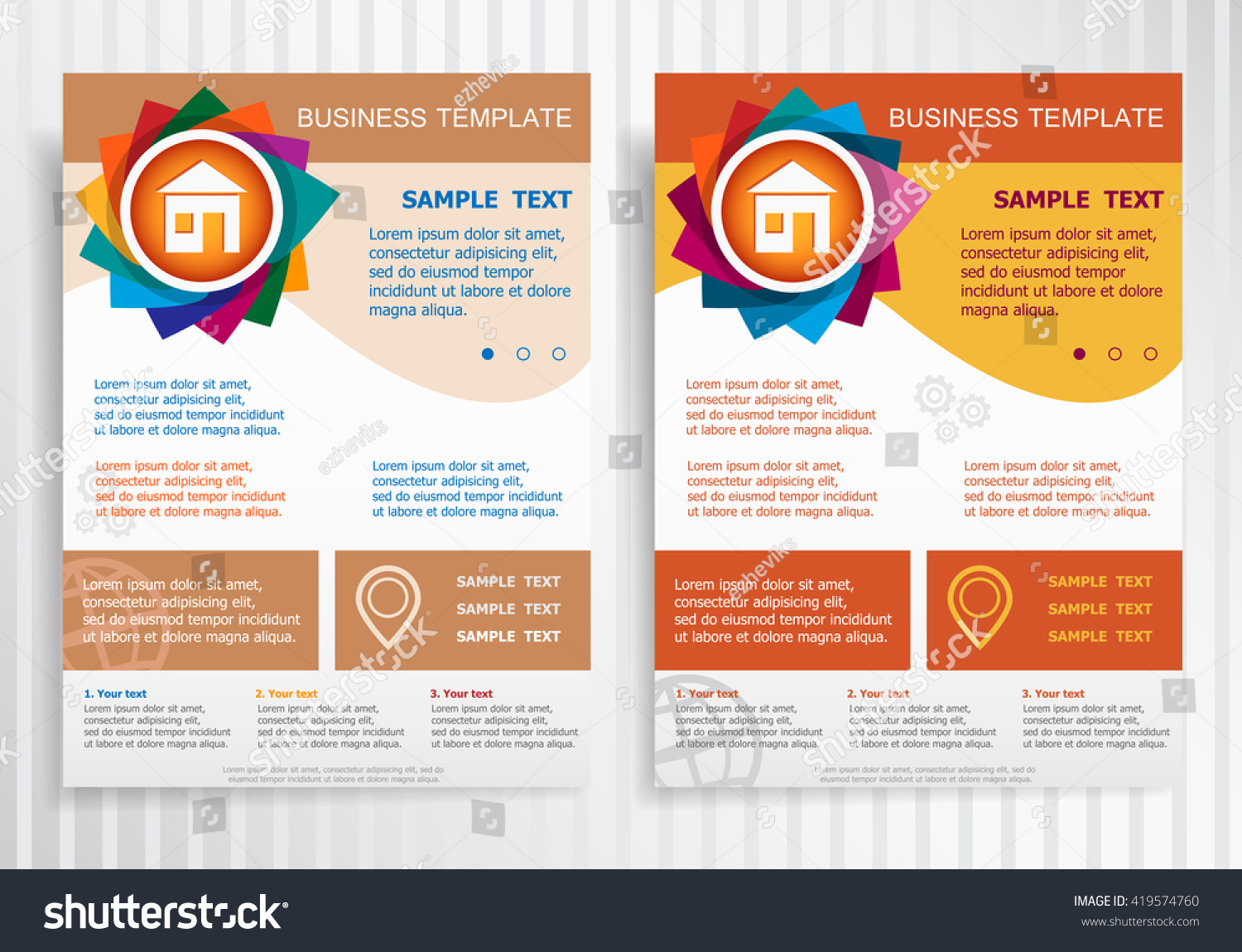 House Icon On Abstract Vector Brochure Stock Vector - House brochure template