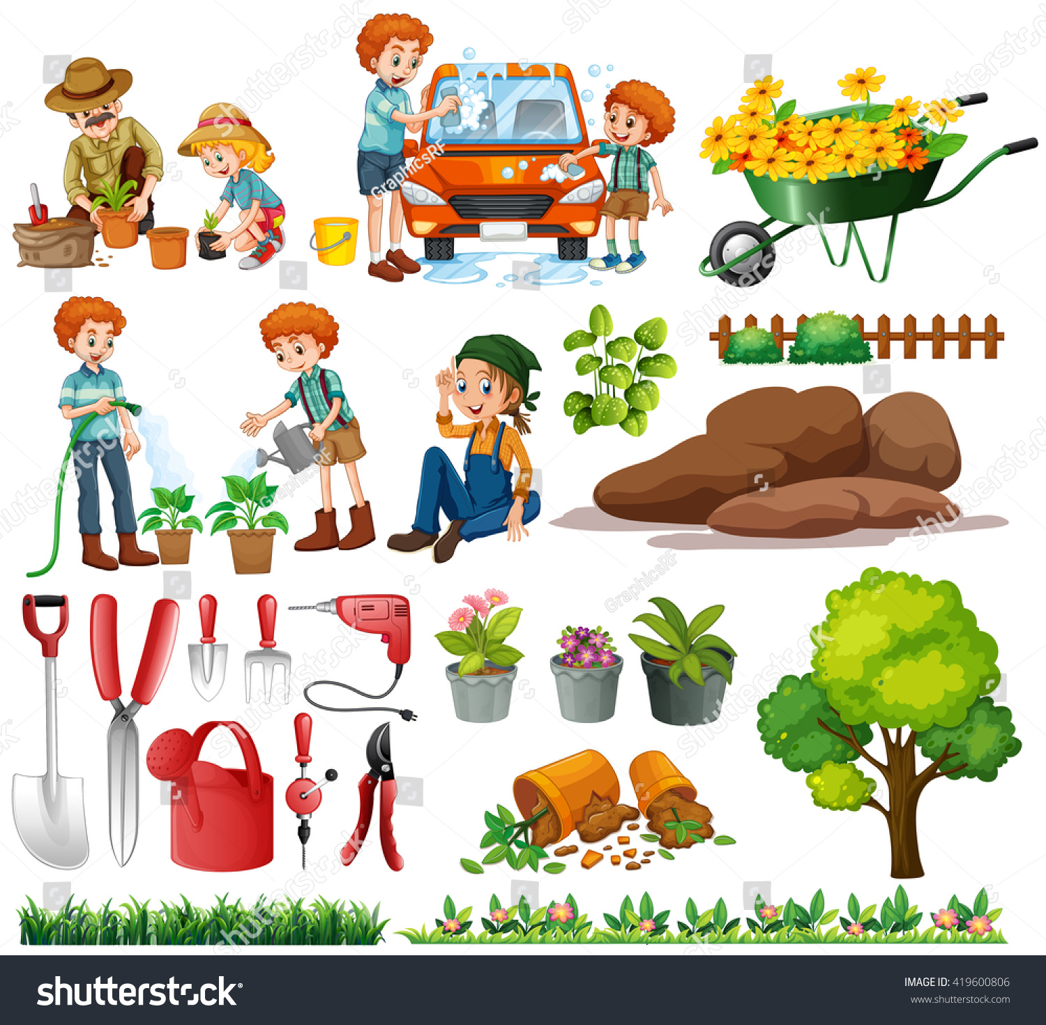 stock vector family members doing chores and gardening illustration