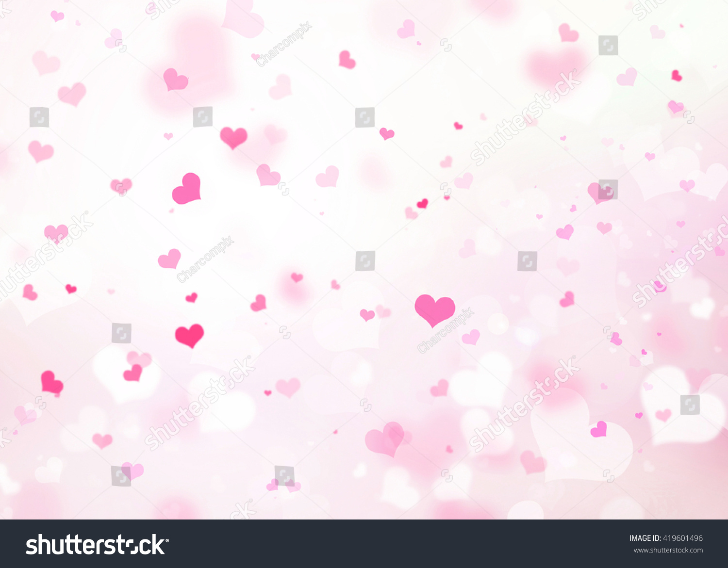 Pink Heart Bokeh Background Blurred Love Stock