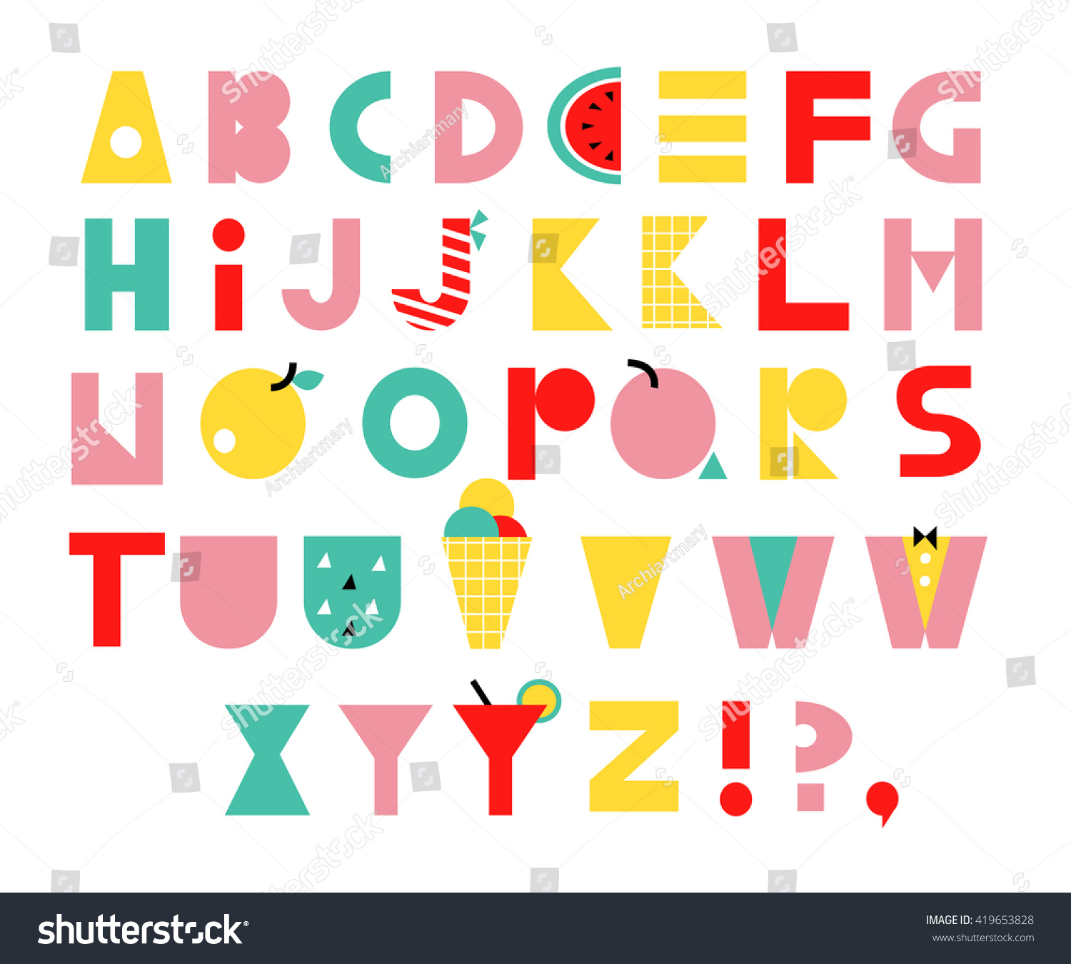 Hand Drawn Alphabet Unusual Fruit Font Stock Vector 419653828 ...