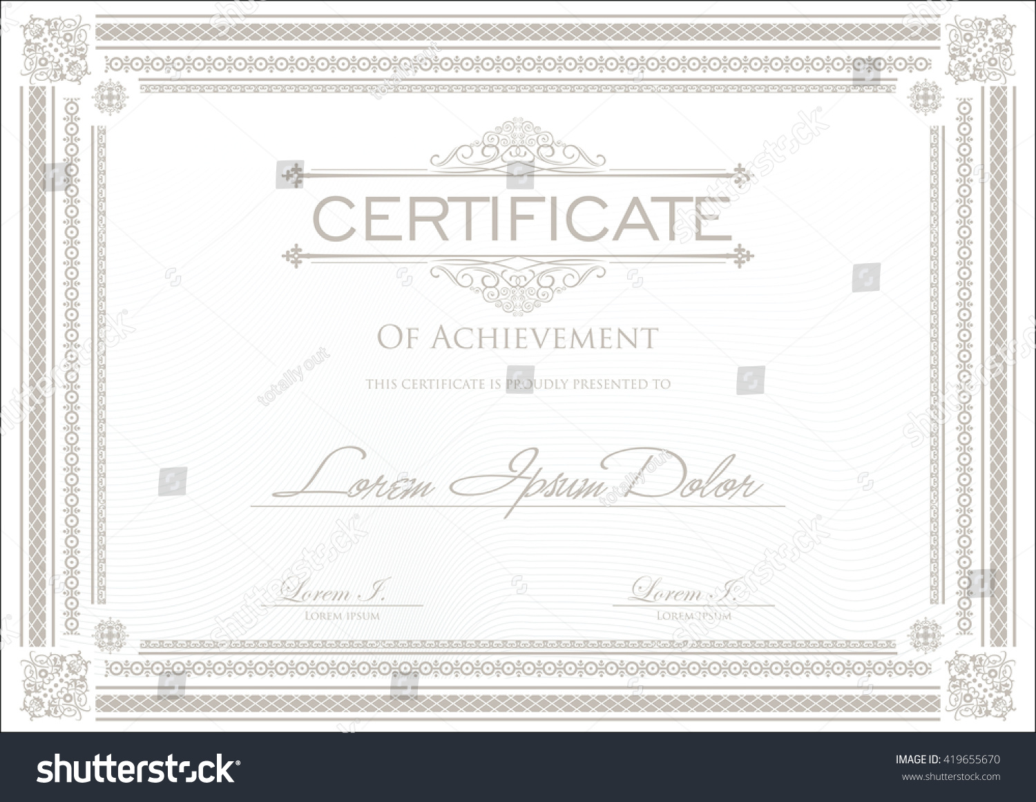 Stock certificate example technology roadmap printable receipt certificate or diploma template on indemnity form template stock vector certificate or diploma template 419655670 certificate xflitez Choice Image