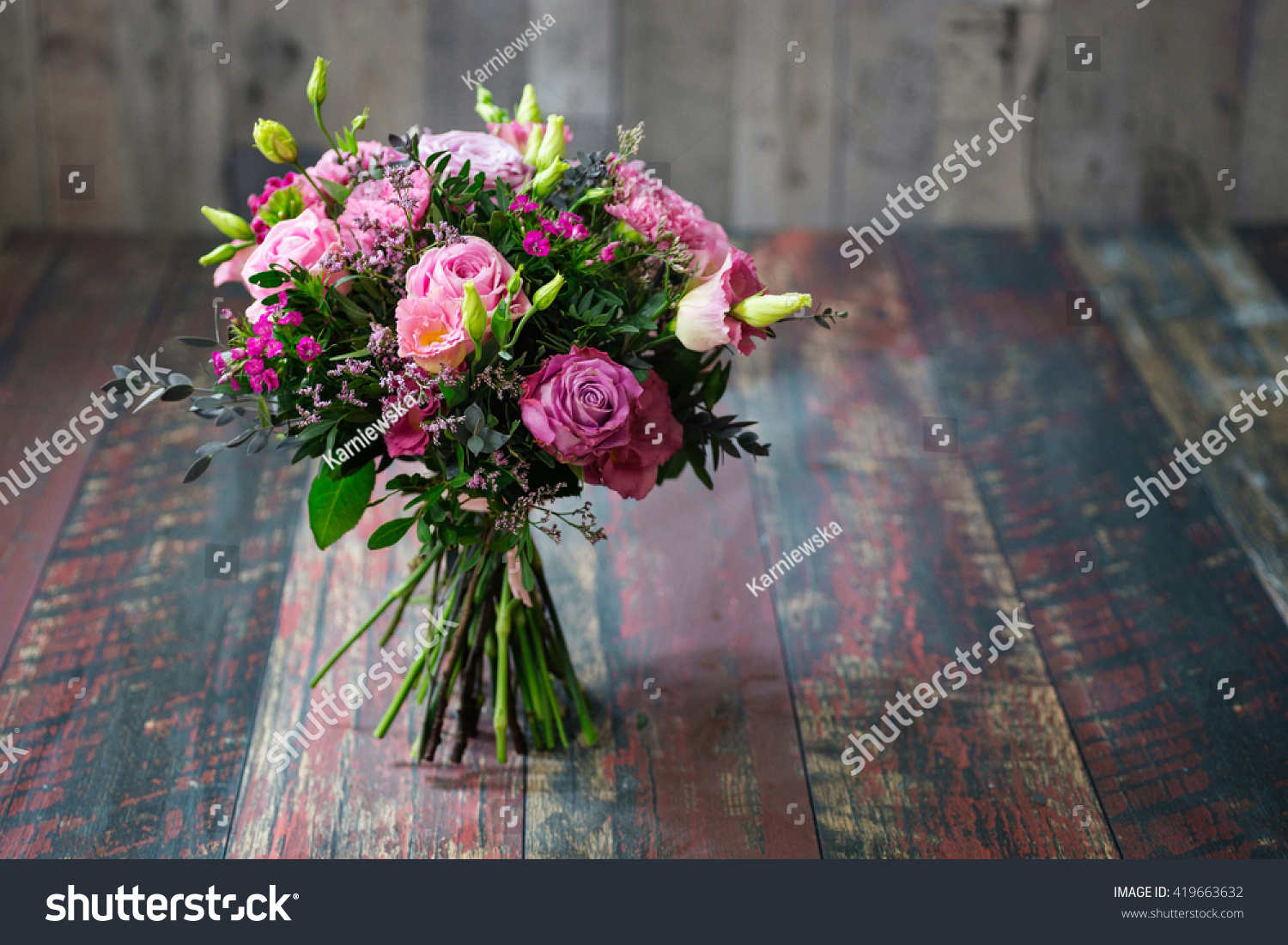 Rustic Wedding Bouquet Roses Lisianthus Flowers Stock Photo Royalty