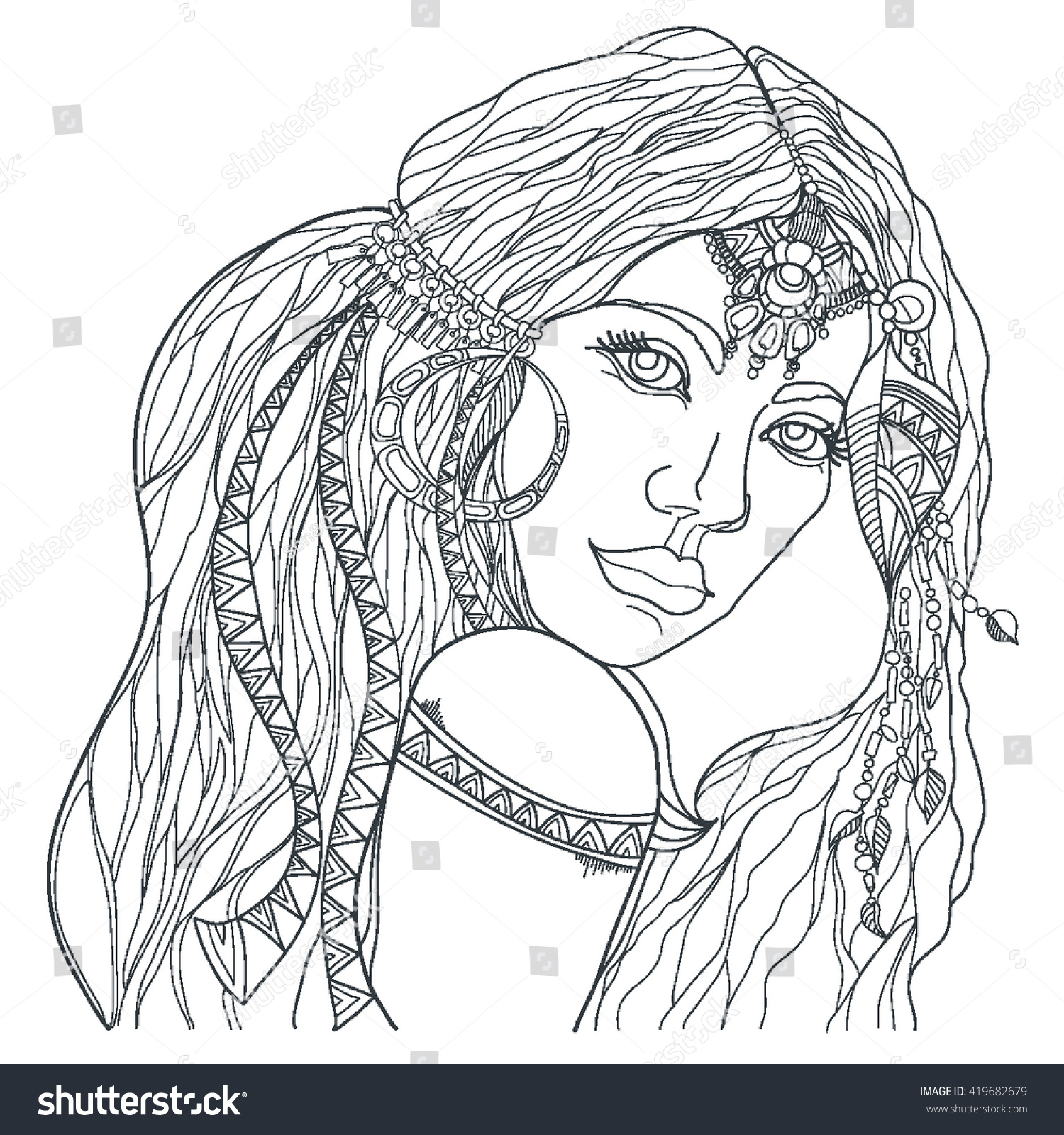 boho style fashion coloring page stock vector 419682679