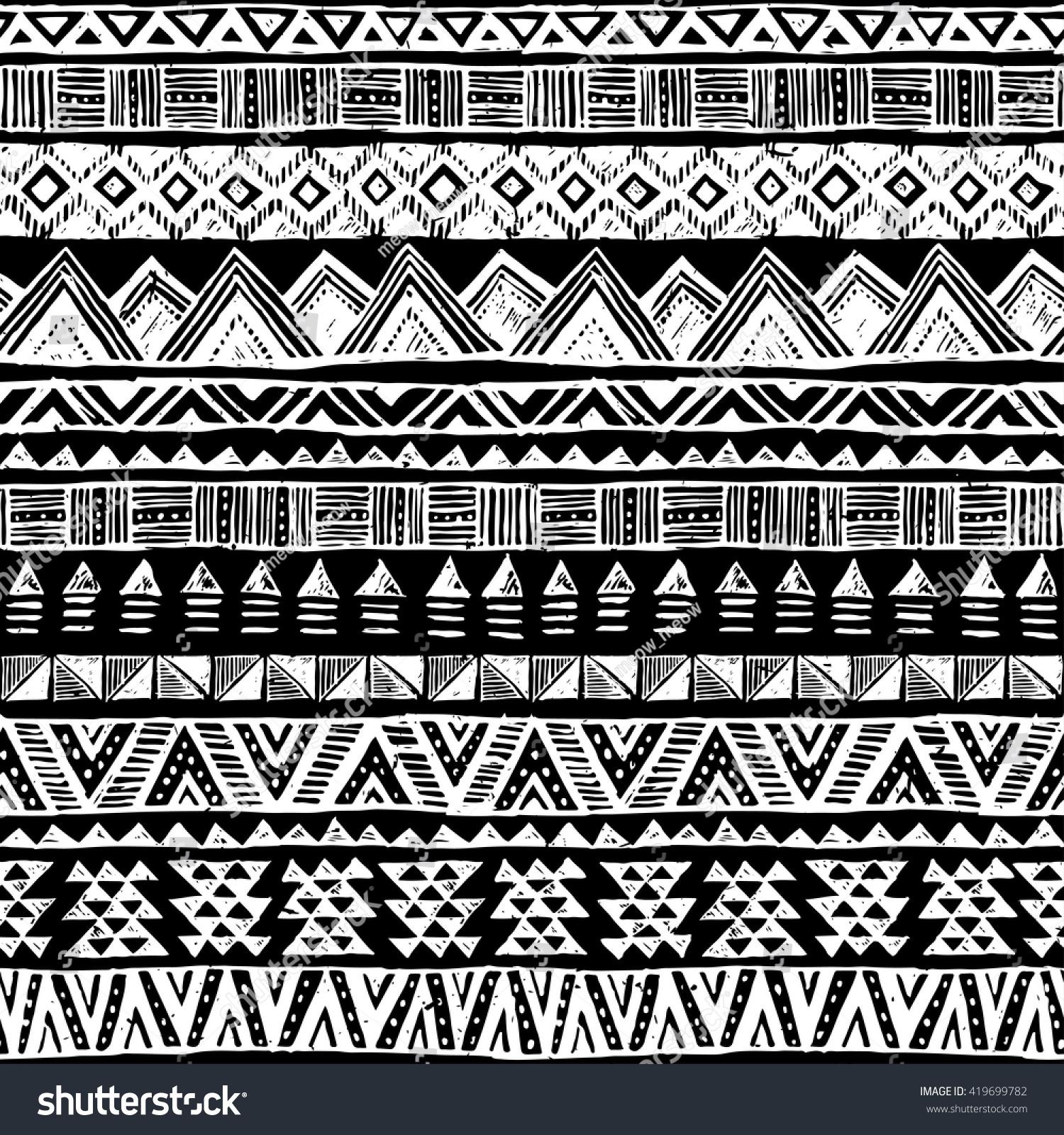 Black White Tribal Doo... Black And White Tribal Print Wallpaper