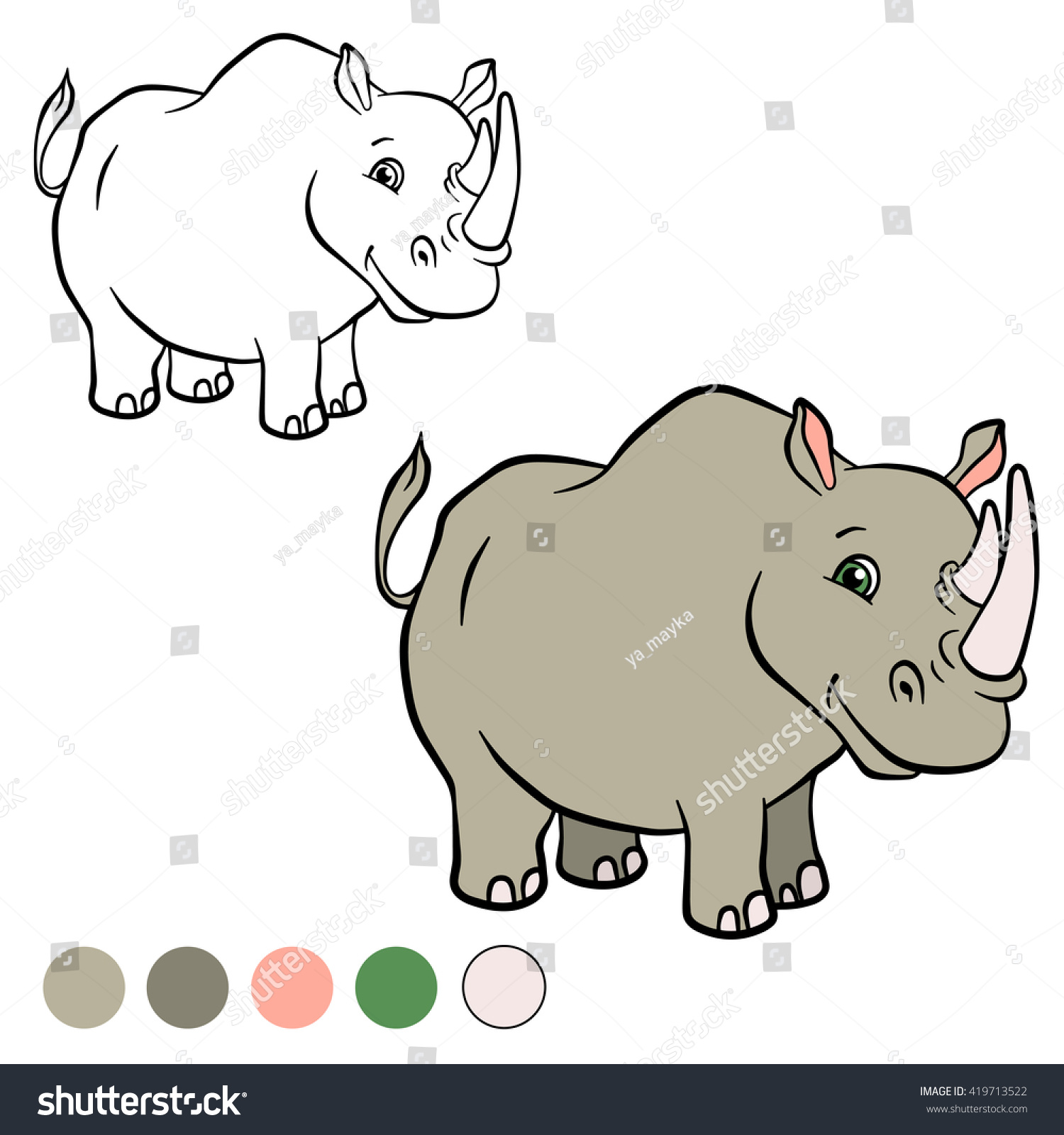 coloring page cute rhinoceros stands smiles stock vector 419713522