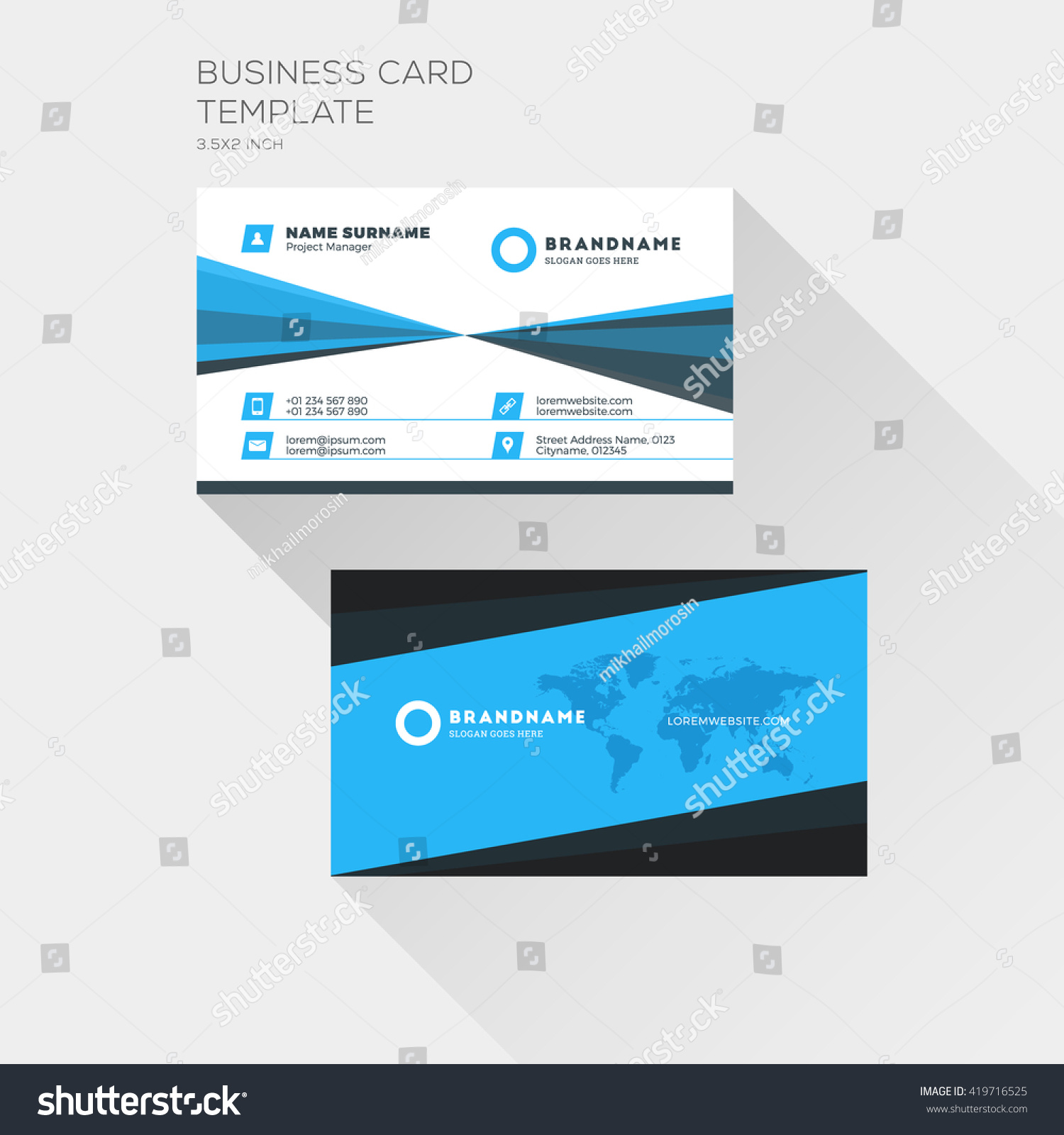Corporate business card print template personal stock vector corporate business card print template personal visiting card with company logo clean flat design magicingreecefo Gallery