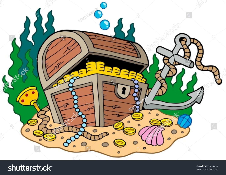 Treasure Toys Cartoon : Treasure chest on sea bottom vector stock