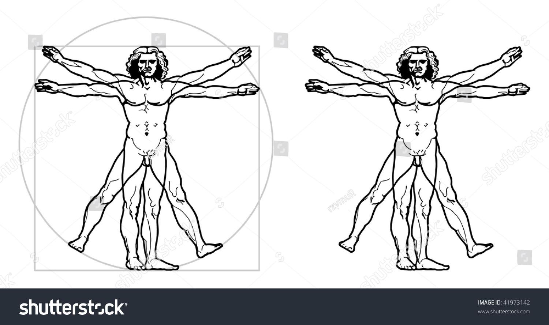 Leonardos Vitruvian Man Vector Stock Vector 41973142 - Shutterstock