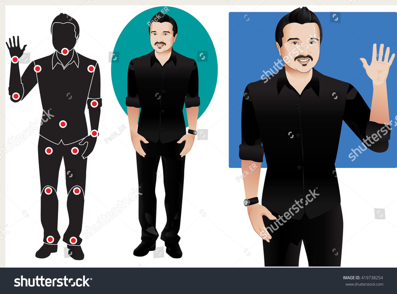 Animation Man Character Black Shirt Doll Stock Vector 419738254 ...