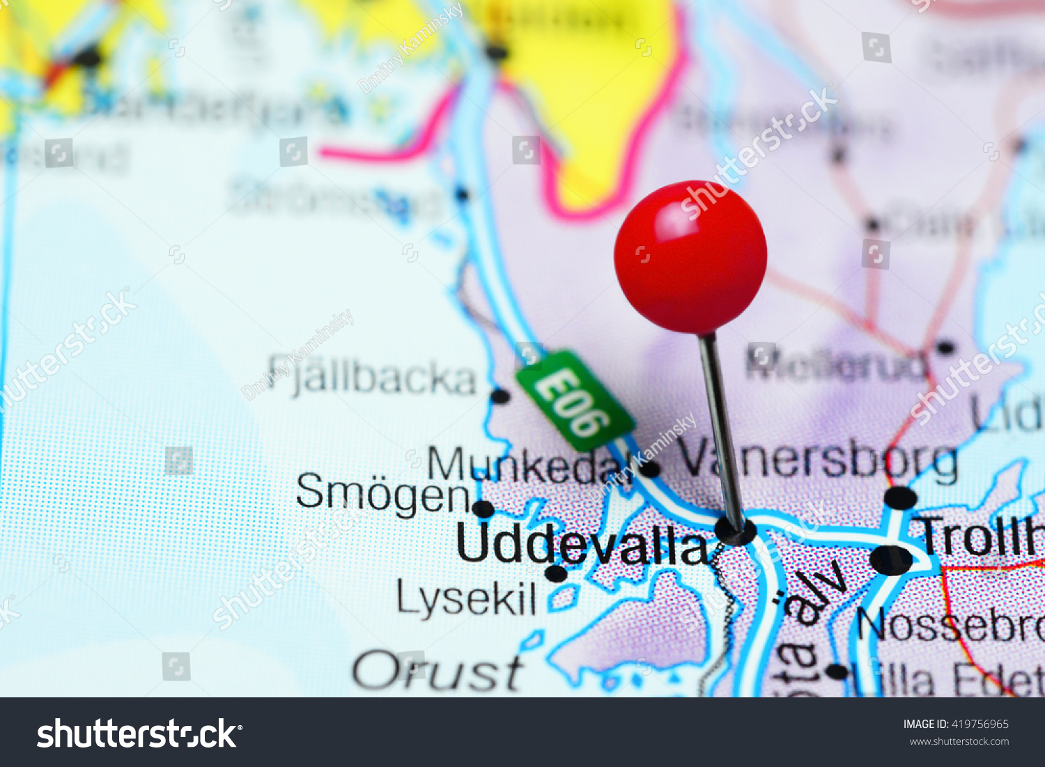 Uddevalla Pinned On A Map Of Sweden Stock Photo - Sweden map uddevalla