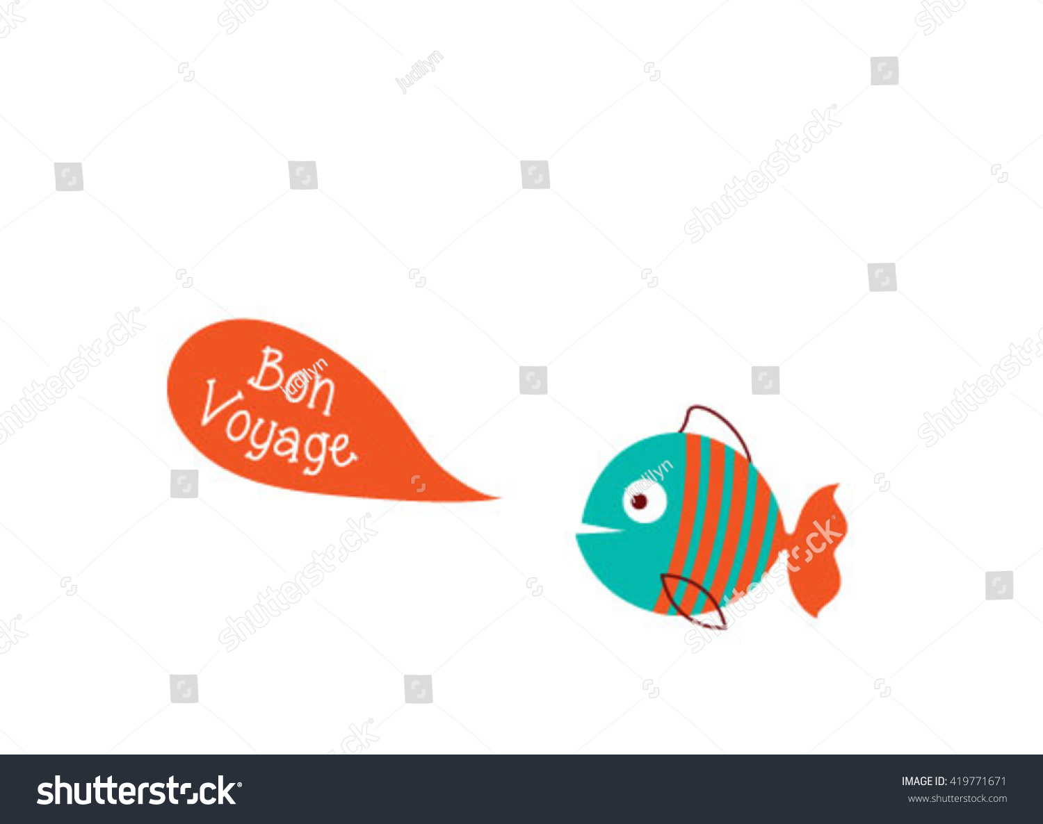 Cute fish bon voyage greeting card stock vector 419771671 shutterstock cute fish bon voyage greeting card vector illustration m4hsunfo