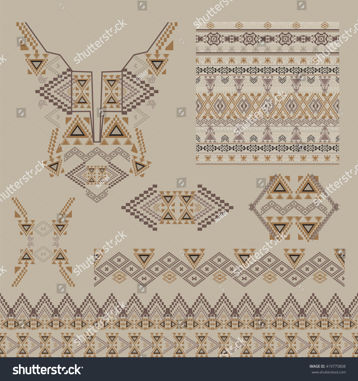 Vector Set Decorative Elements Design Fashion Stock Vector Royalty Free 419775808