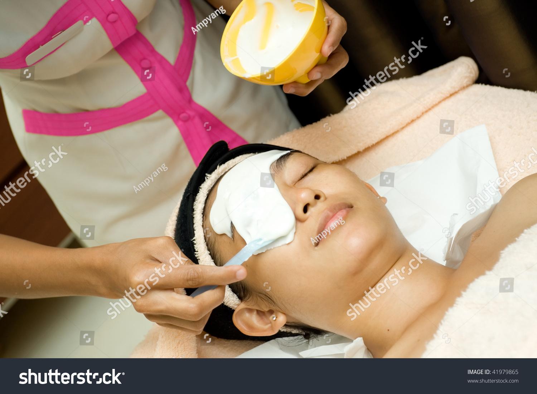 during facial treatment