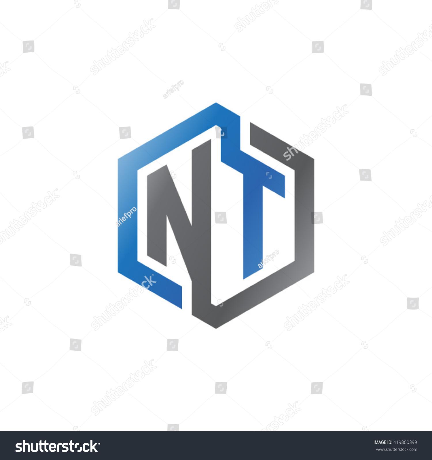 Nt Initial Letters Looping Linked Hexagon Logo Black Gray Blue Ez