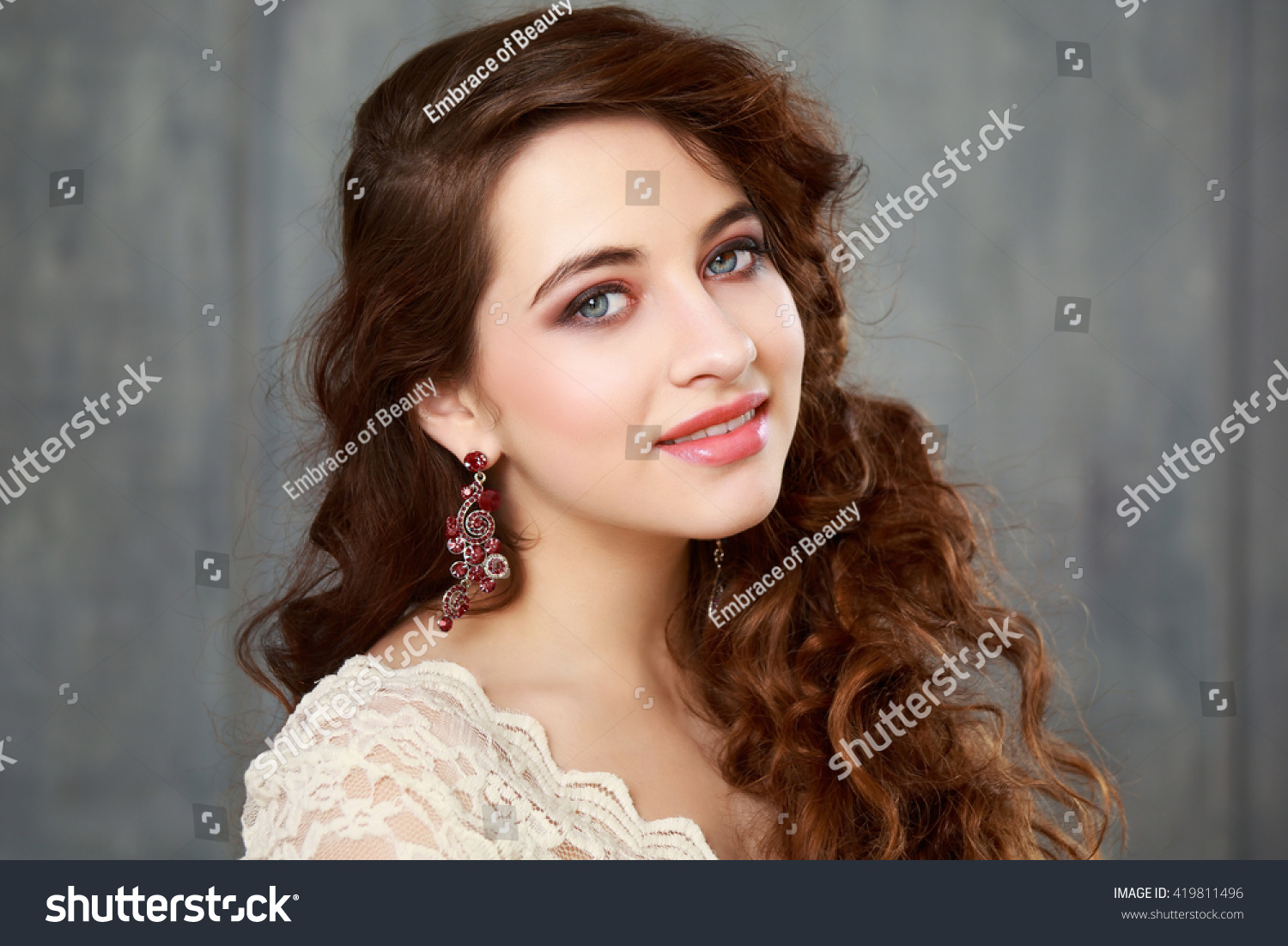 Happy Teen Girl Prom Makeup Hairstyle Stock Photo Edit Now