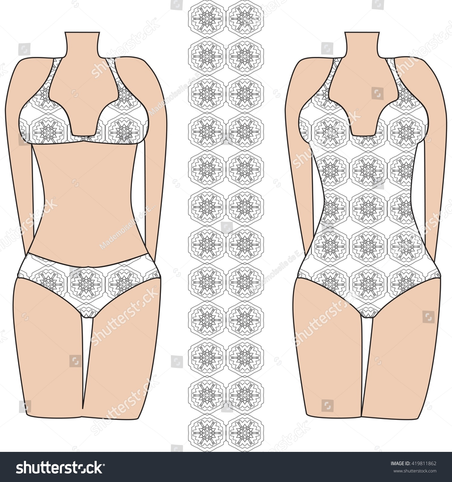 template pattern two womens swimwear mandala stock vector royalty