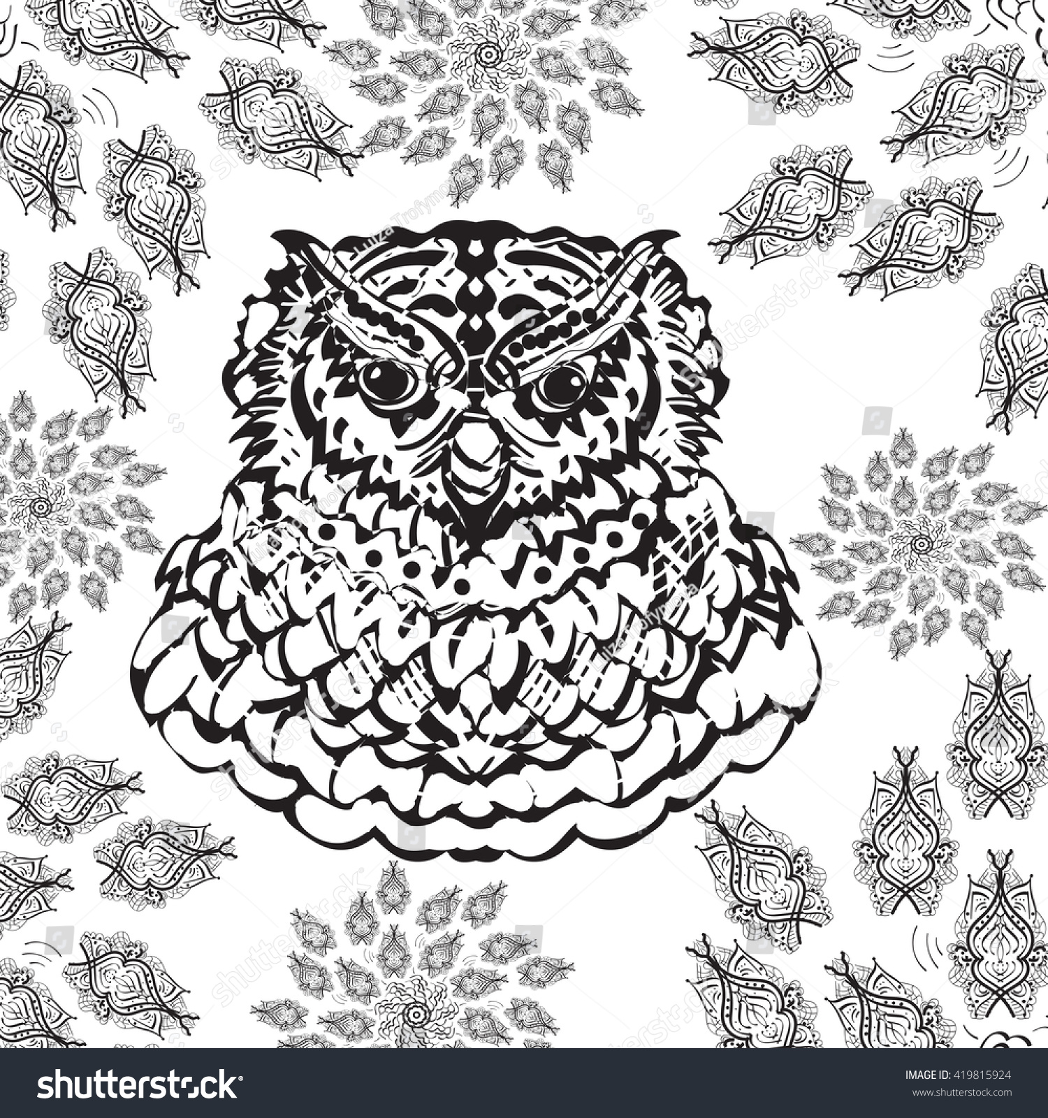 gorgeous owl coloring page modern style stock vector 419815924
