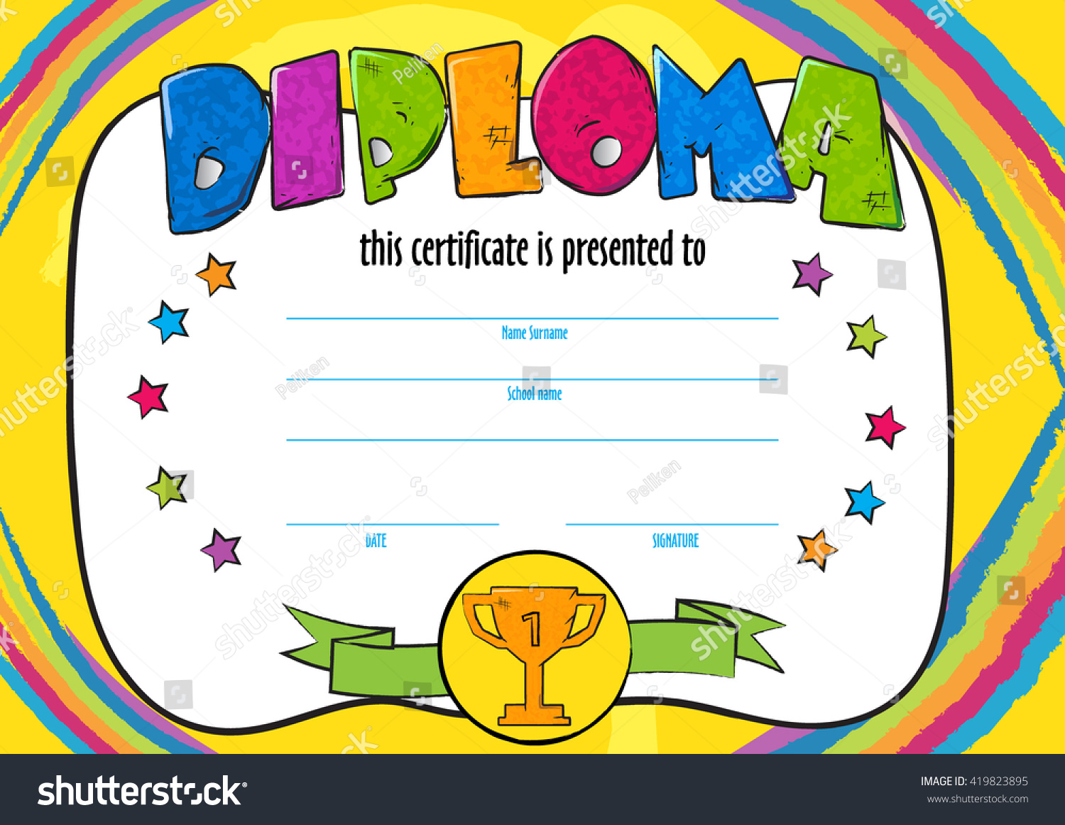 Template child certificate be awarded kindergarten stock vector template child certificate to be awarded kindergarten preschool kids diploma design template vector for alramifo Image collections