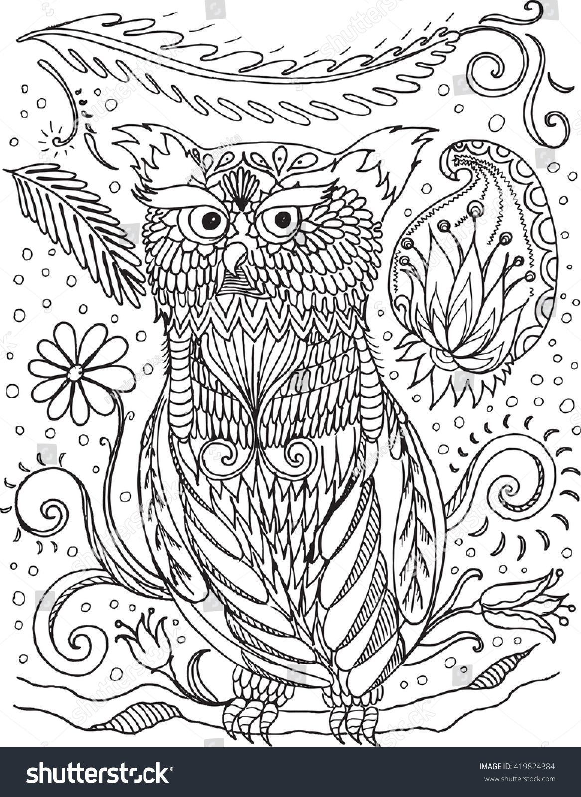 Coloring Book For Adult And Older Children Page With Decorative Vintage Flowers Owl