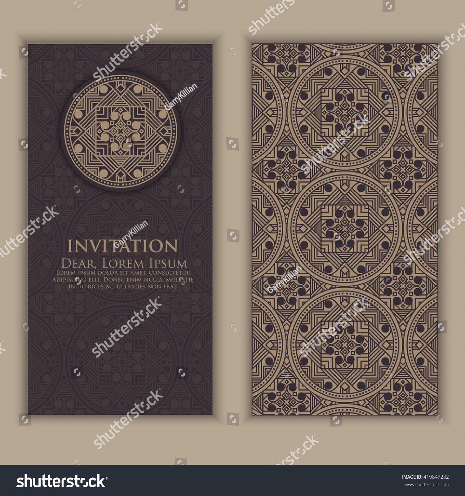 Invitation cards ethnic arabesque elements arabesque stock for Arabesque style decoration