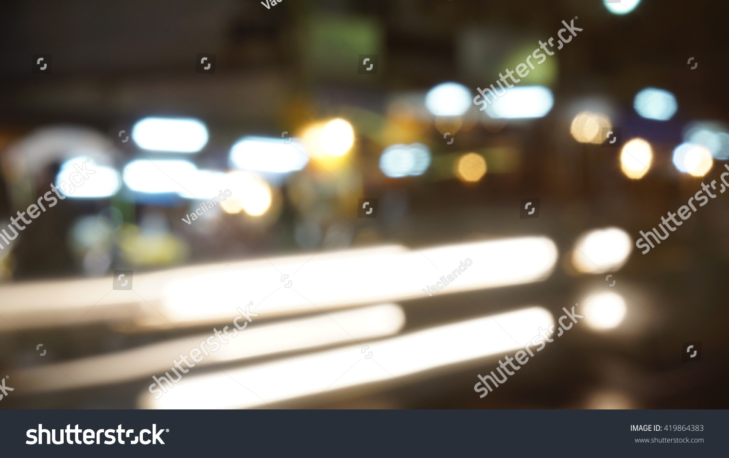 Blurred Car Lights in the Night #419864383