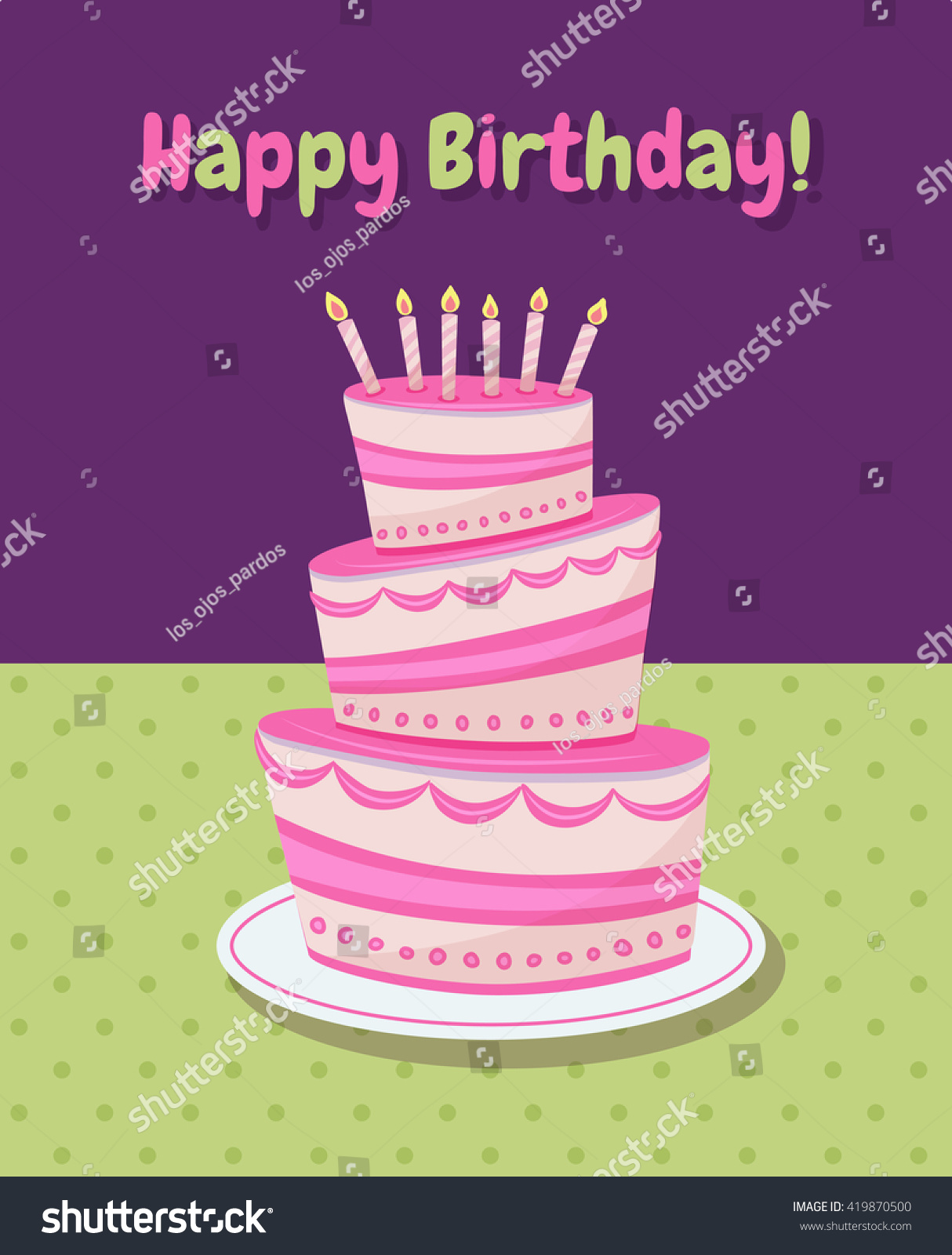 Vector Template Of A Greeting Card With Illustration Of A Cake And