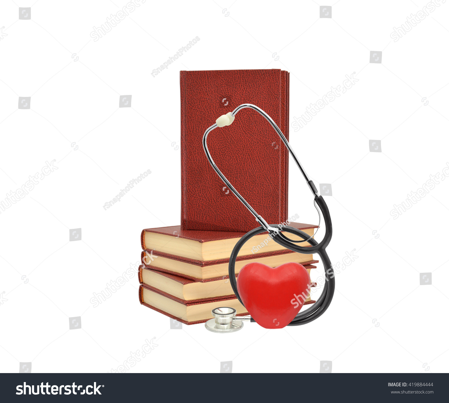 Red Heart Stethoscope Stack of Hard Cover Books isolated on white background