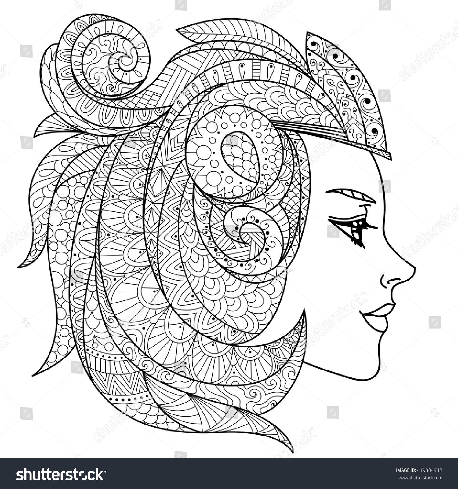 beautiful flower woman design coloring book stock vector 419884948