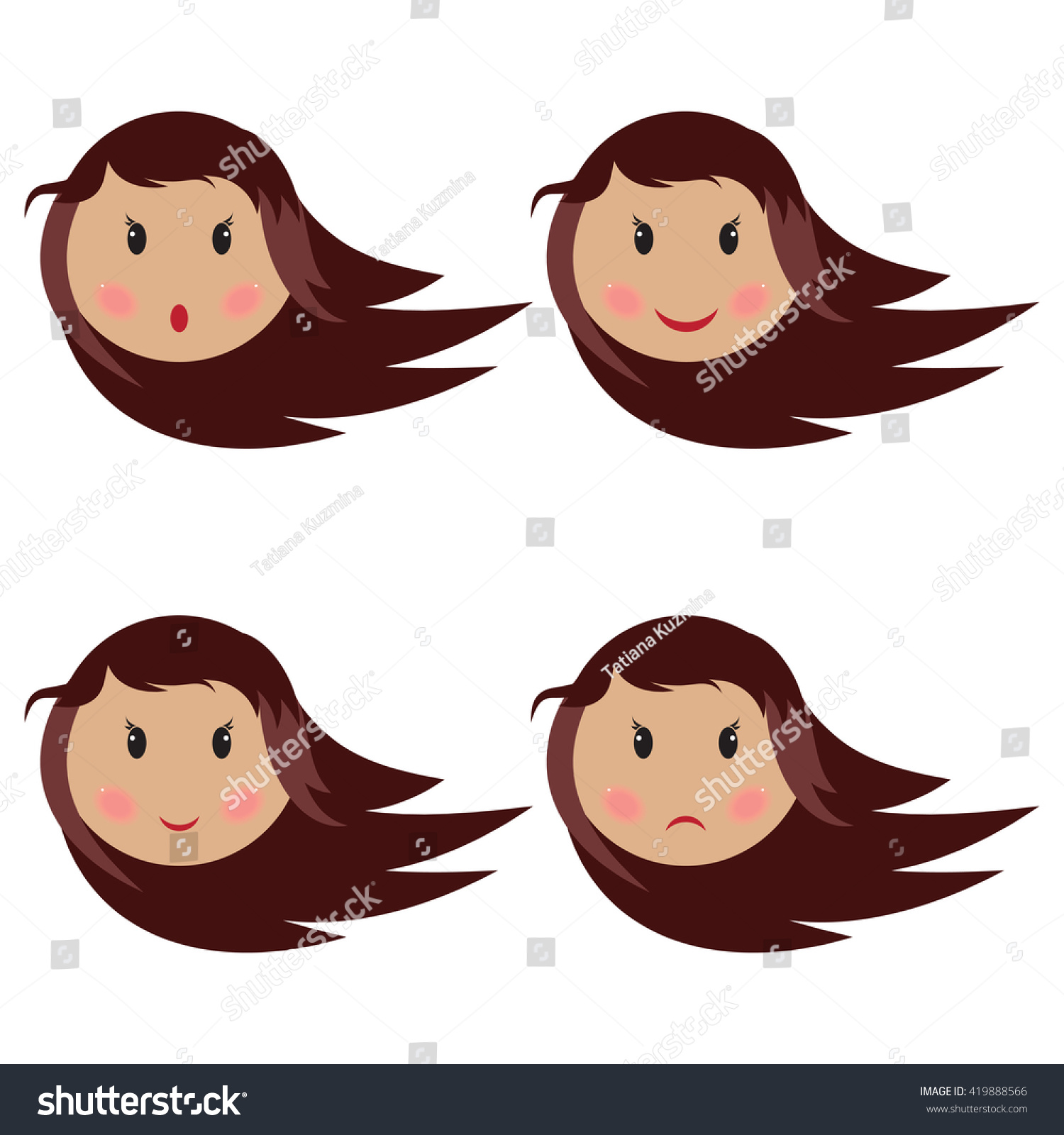 baby girl making four different face stock vector royalty free