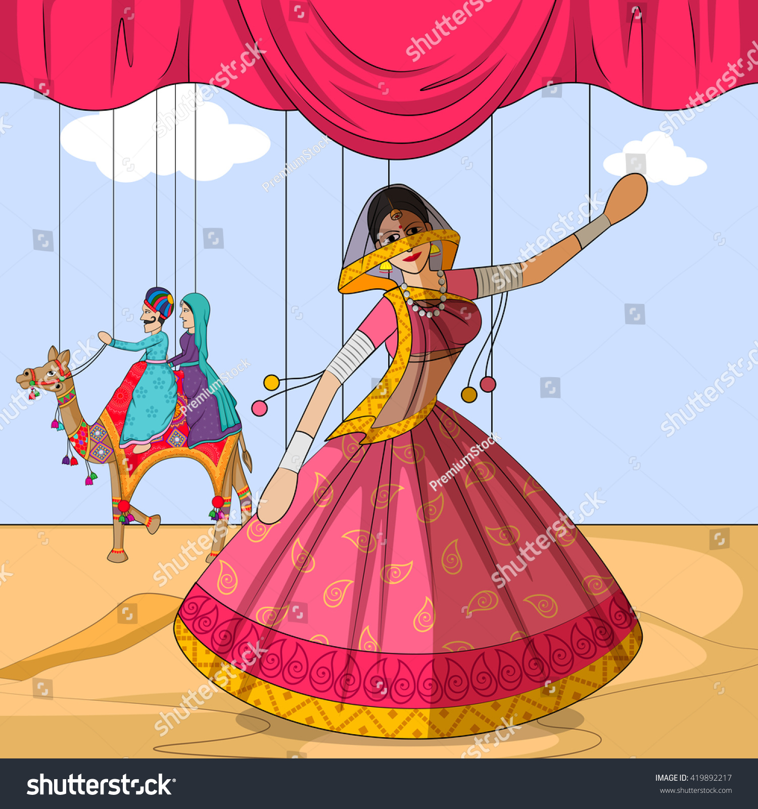 Rajasthan Royals Theme Song Free Download: Vector Design Colorful Rajasthani Puppet Doing Stock