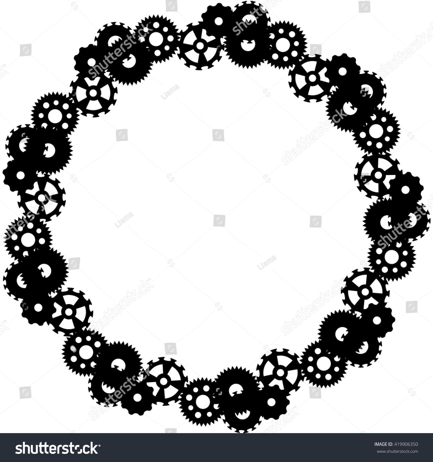 Steampunk Round Frame Gears Vector Stock Vector 419906350 - Shutterstock