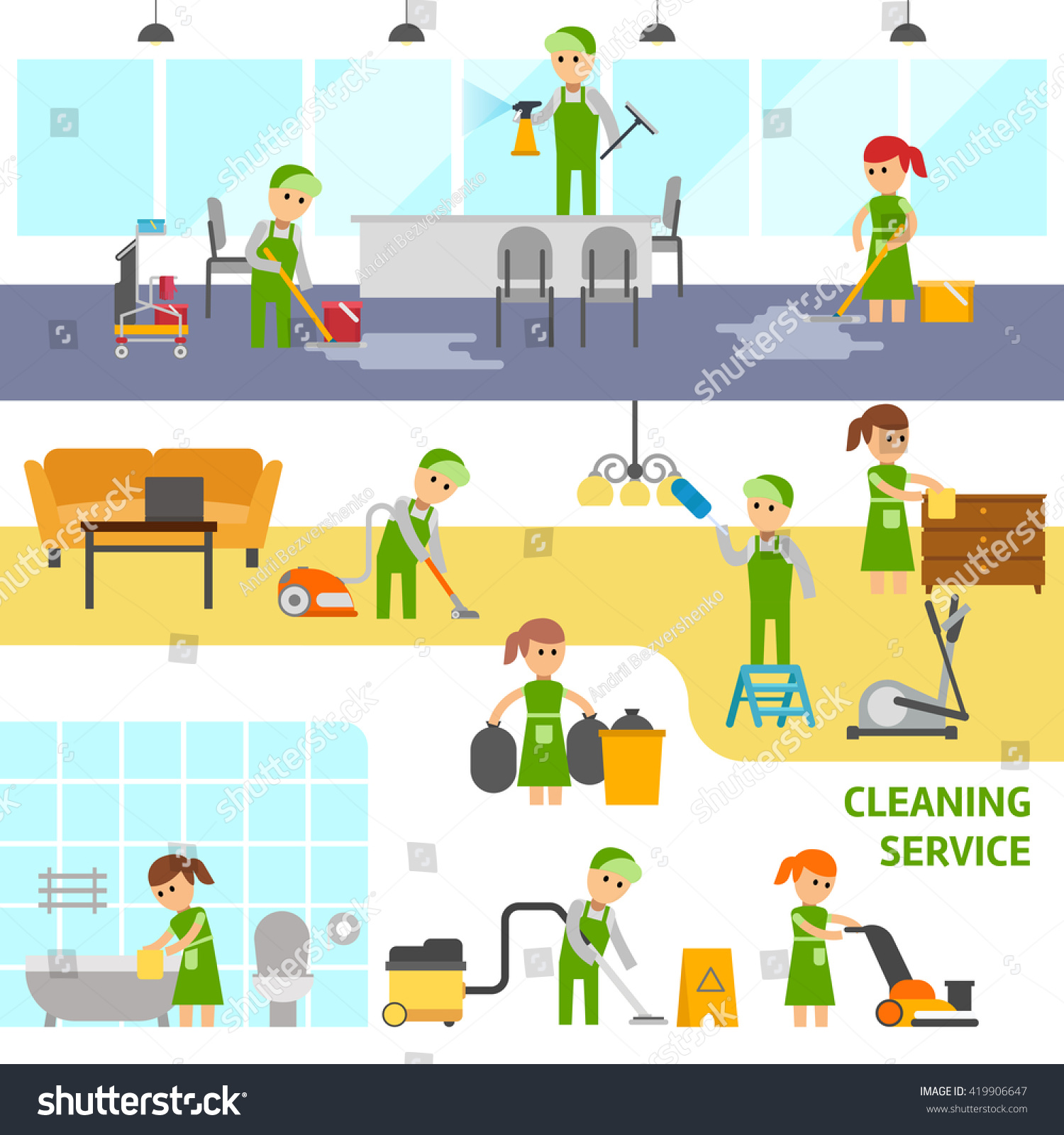 Cleaning service infographic elements cleaning office for Bathroom cleaning companies