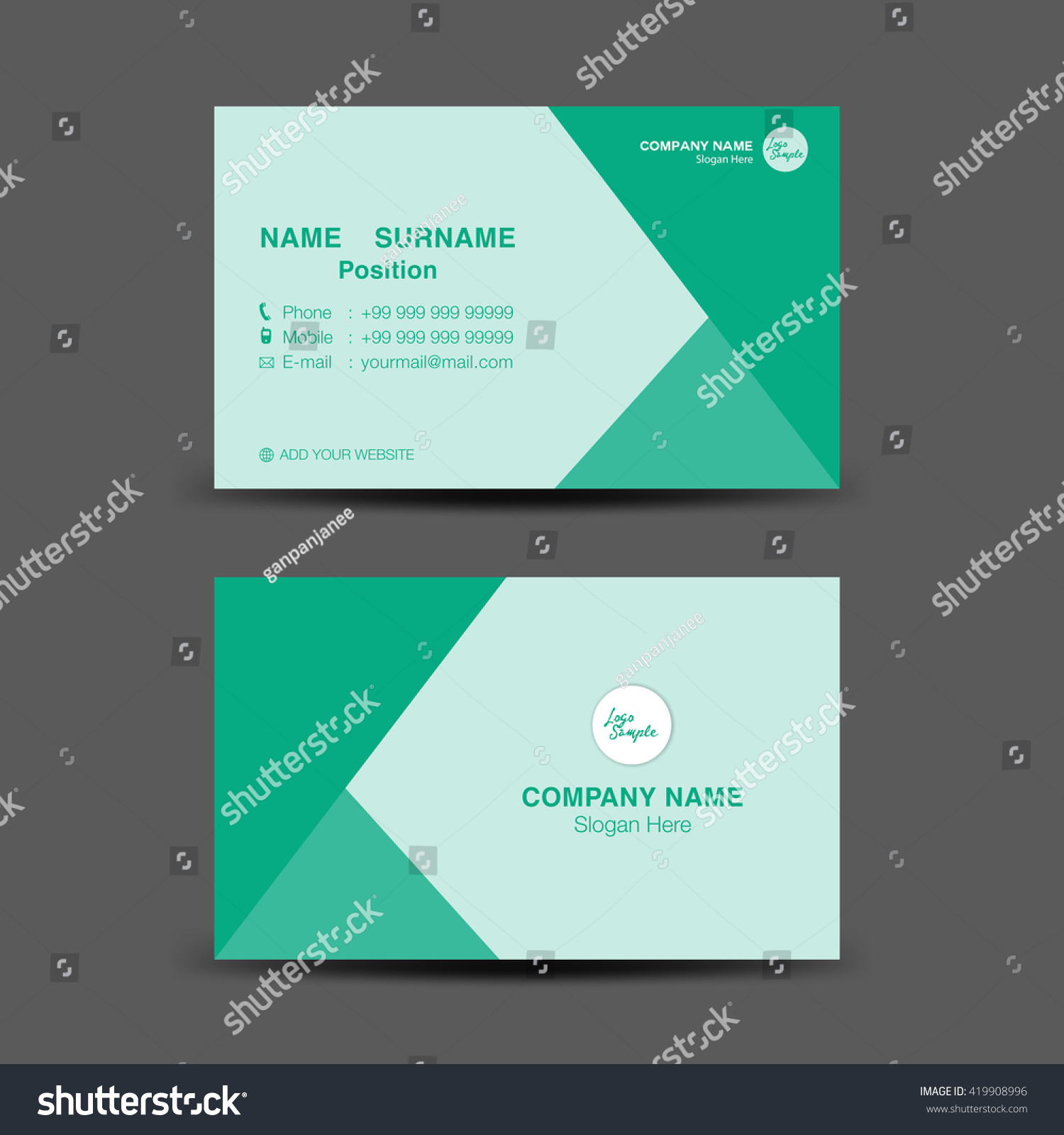 Green Business Card Vector Backgroundflyer Designpolygon Stock ...