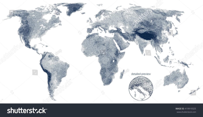 Stippled world relief vector map vectores en stock 419919325 stippled world relief vector map gumiabroncs Images