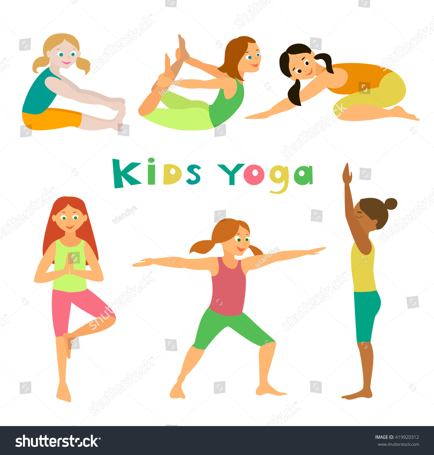 Kids Yoga Vector Illustration Asanas Set Stock Vector ...