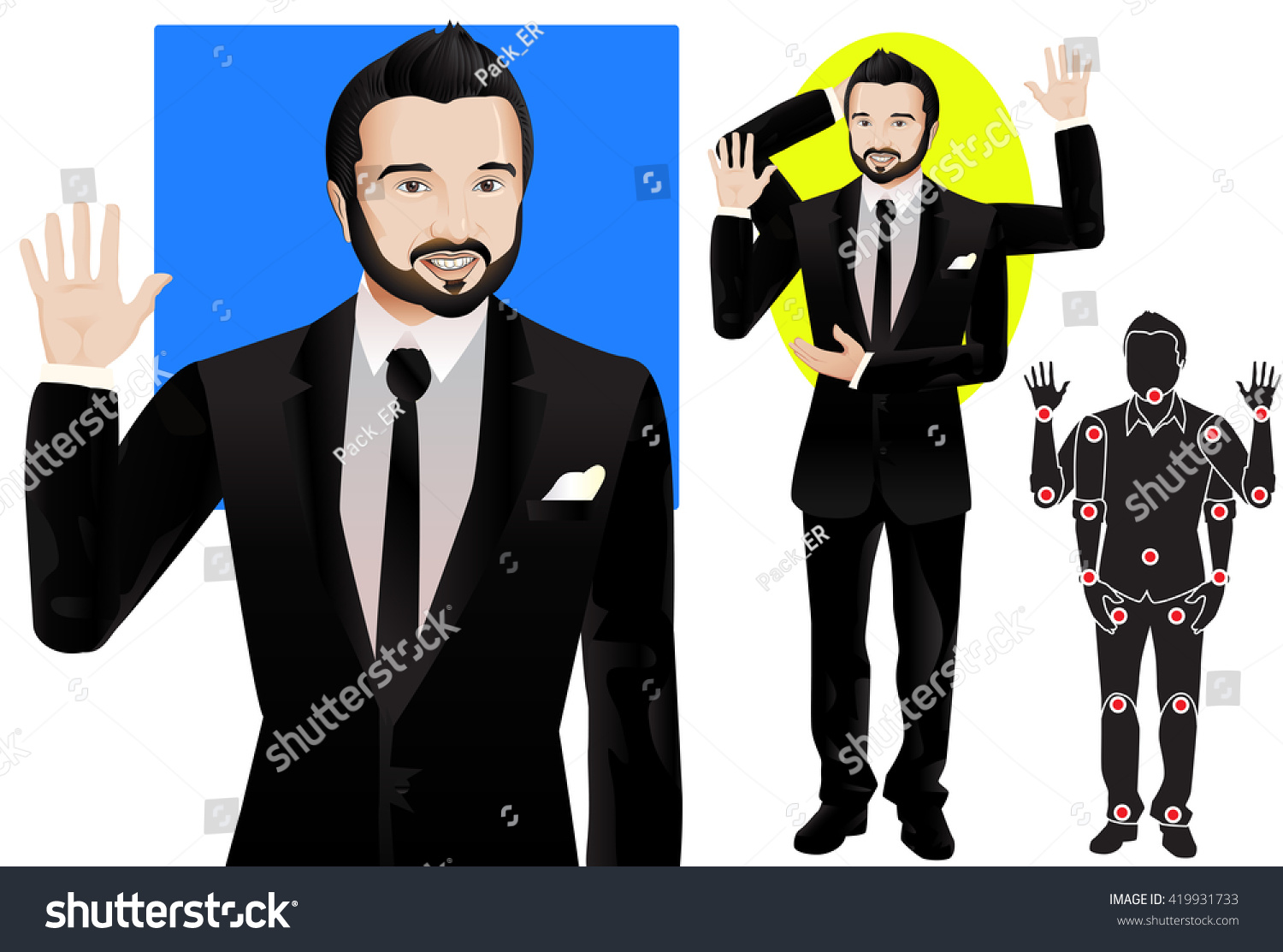 Animation man character formal suit tie em vetor stock 419931733 for animation man character in formal suit and tie doll with separate joints ccuart Image collections