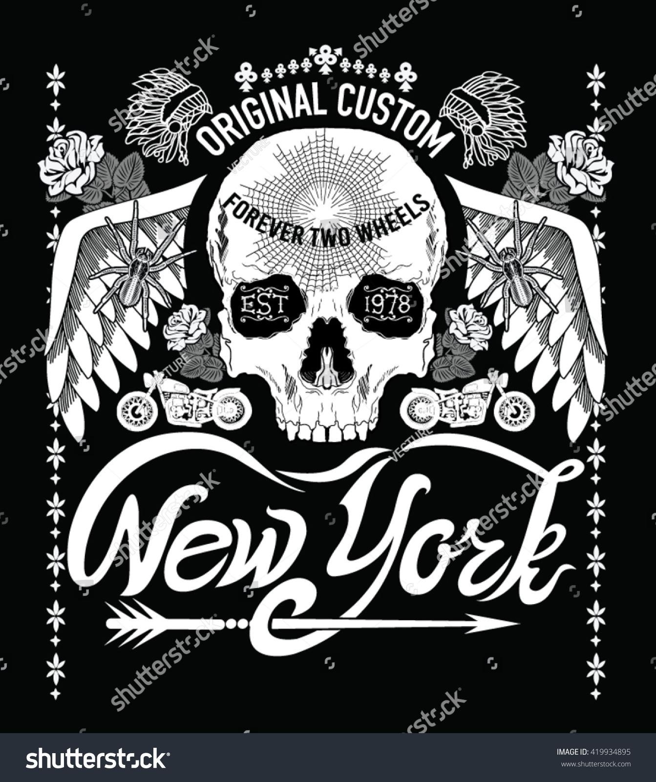 Design t shirt motor - New York Vintage Motor Typographic For T Shirt Design Vector Illustration