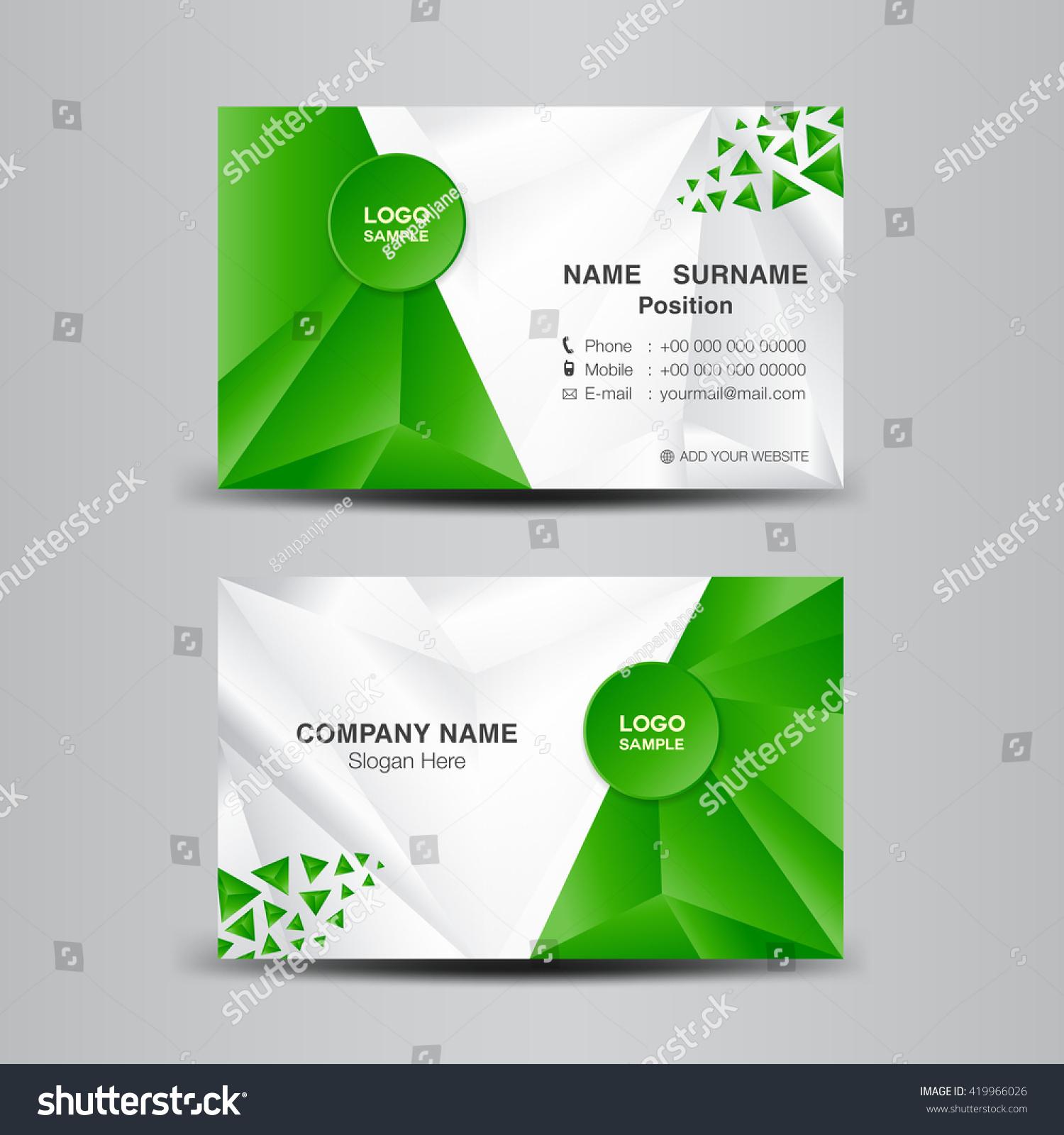 Business Card Template Vector Illustrationgreen Polygon Stock Vector ...