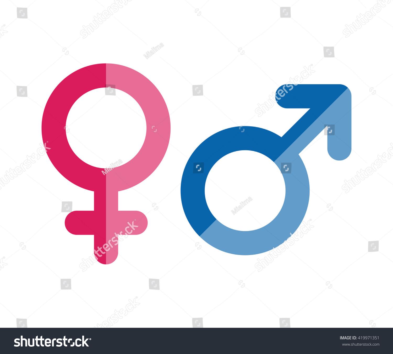 Male And Female Icons Gender Symbols Flat Style Illustration Ez