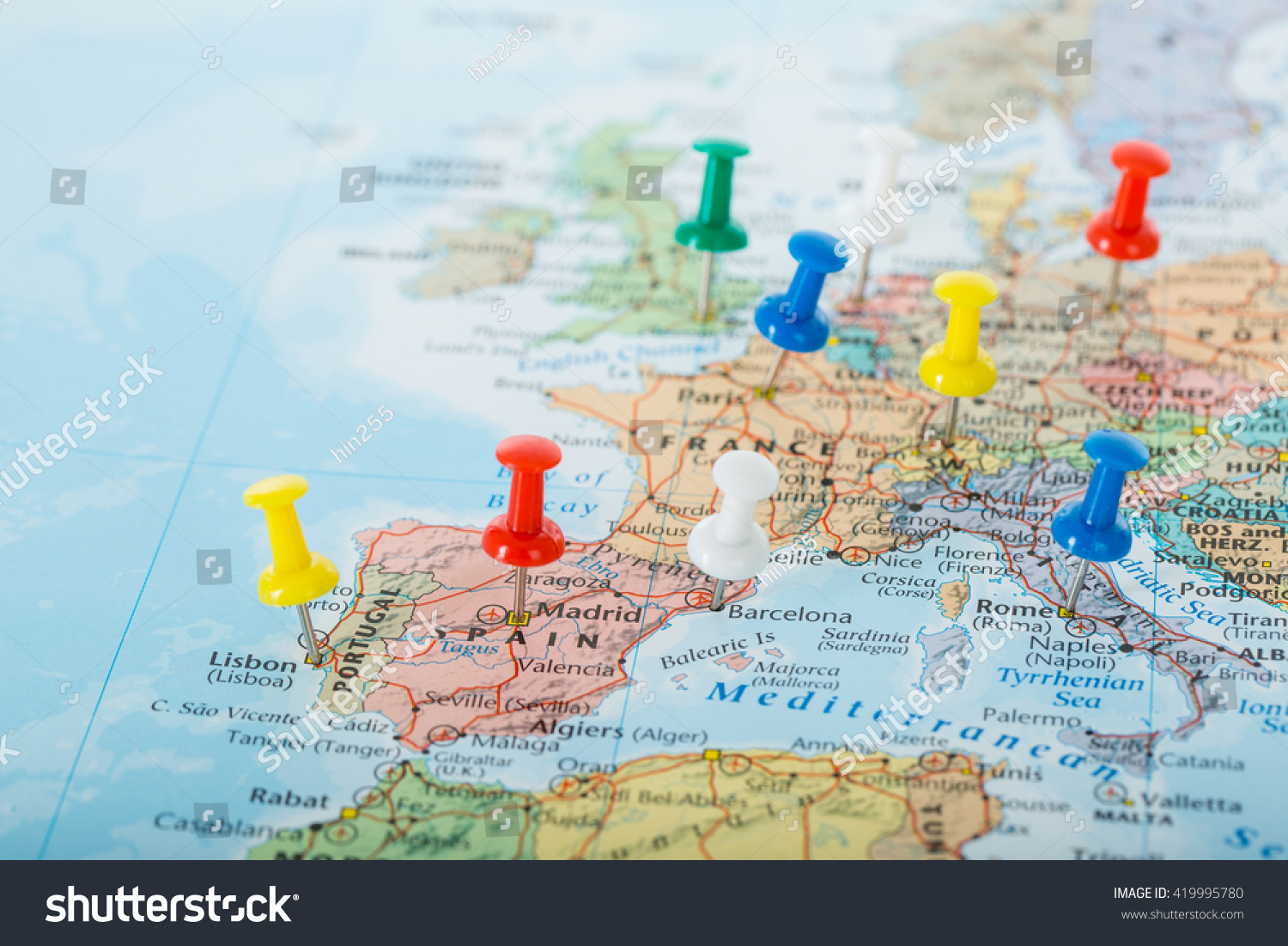 Europe Map Pins Travel Your Planning Photo 419995780 – Travel Planning Map