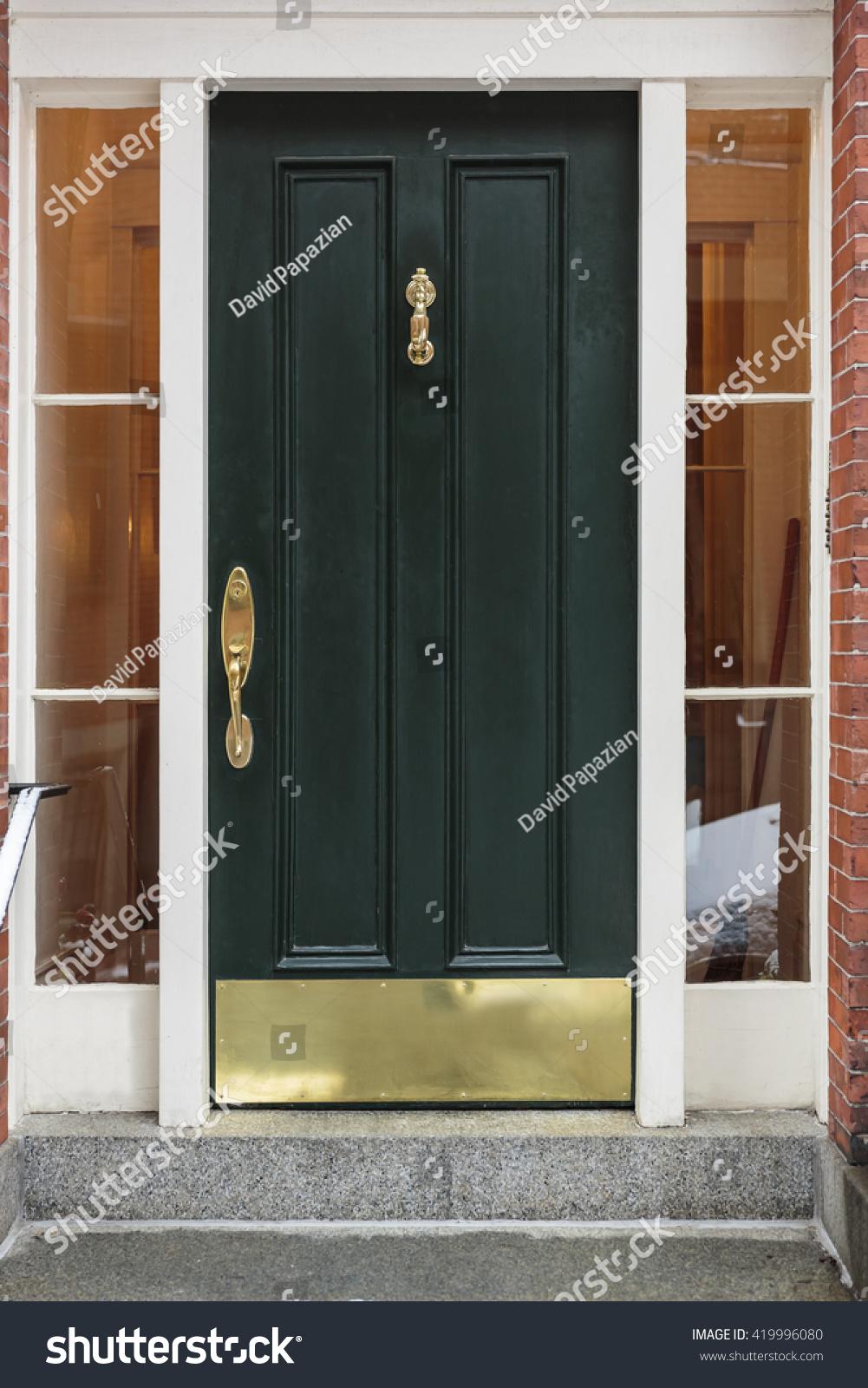 Front Door Green Brass Fixtures Stock Photo Royalty Free 419996080