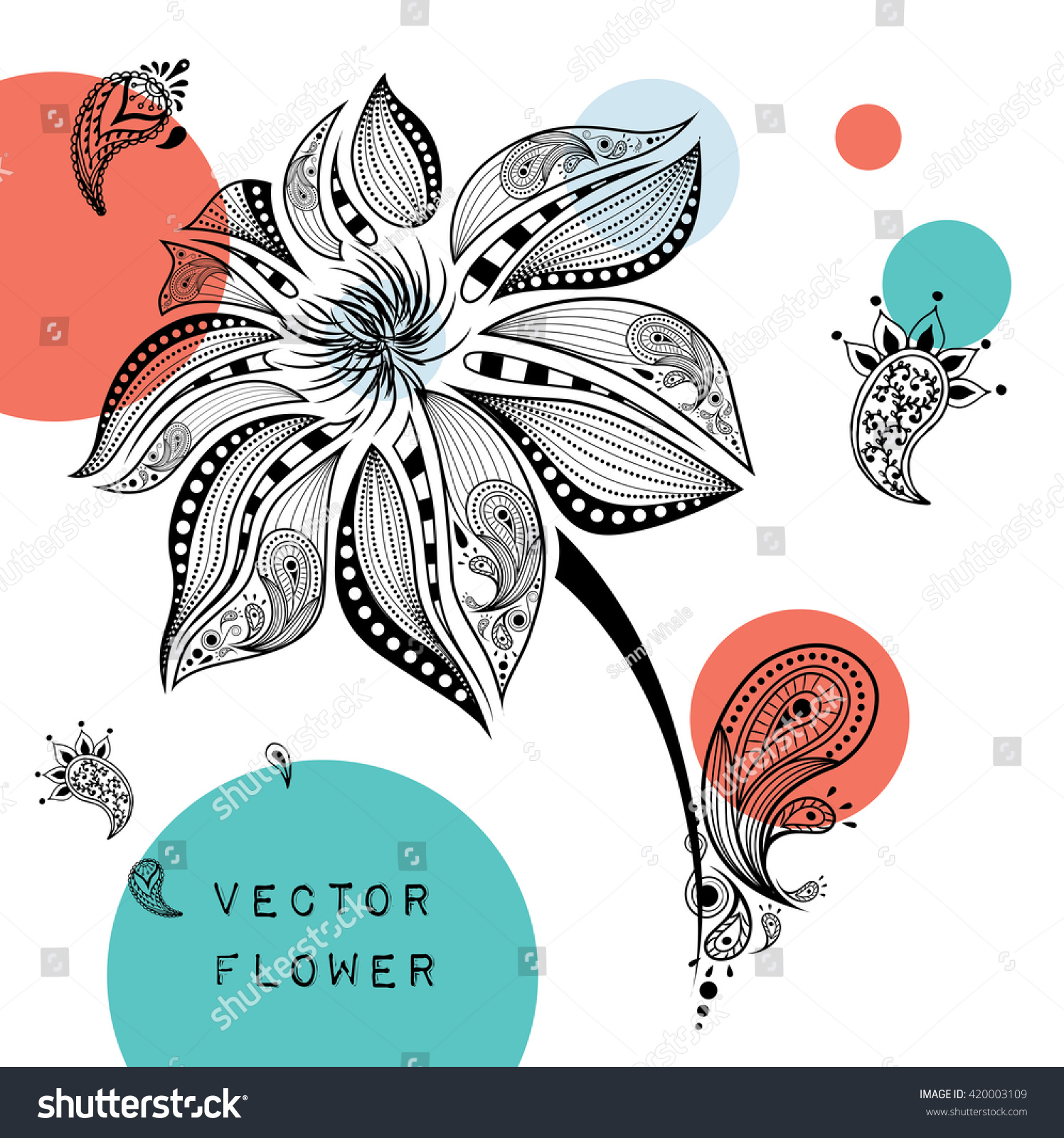 Hand Draw Colored Abstract Flower It May Be Used For Shirt, Bag, Postcard