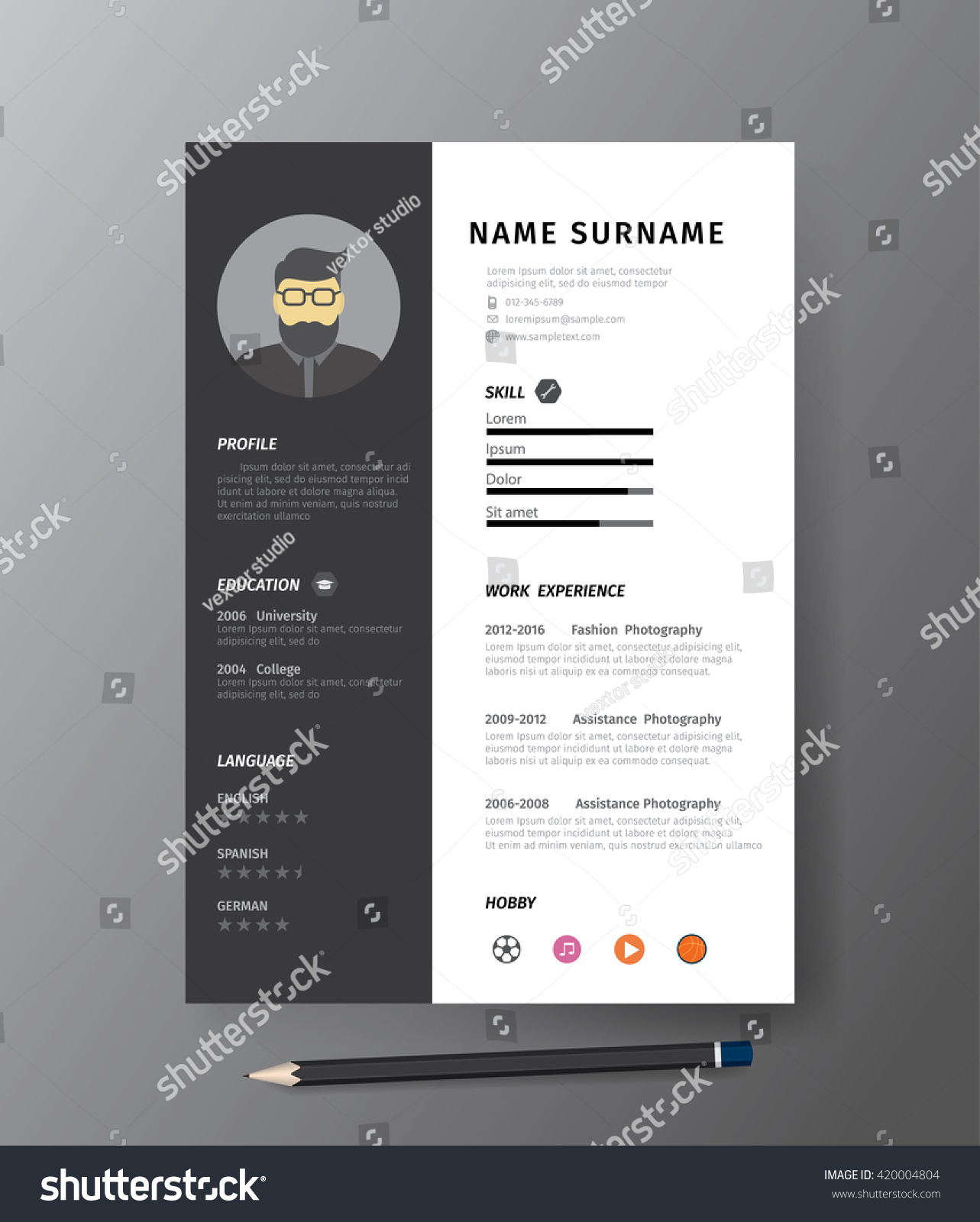 clean modern design template mono resume stock vector 420004804